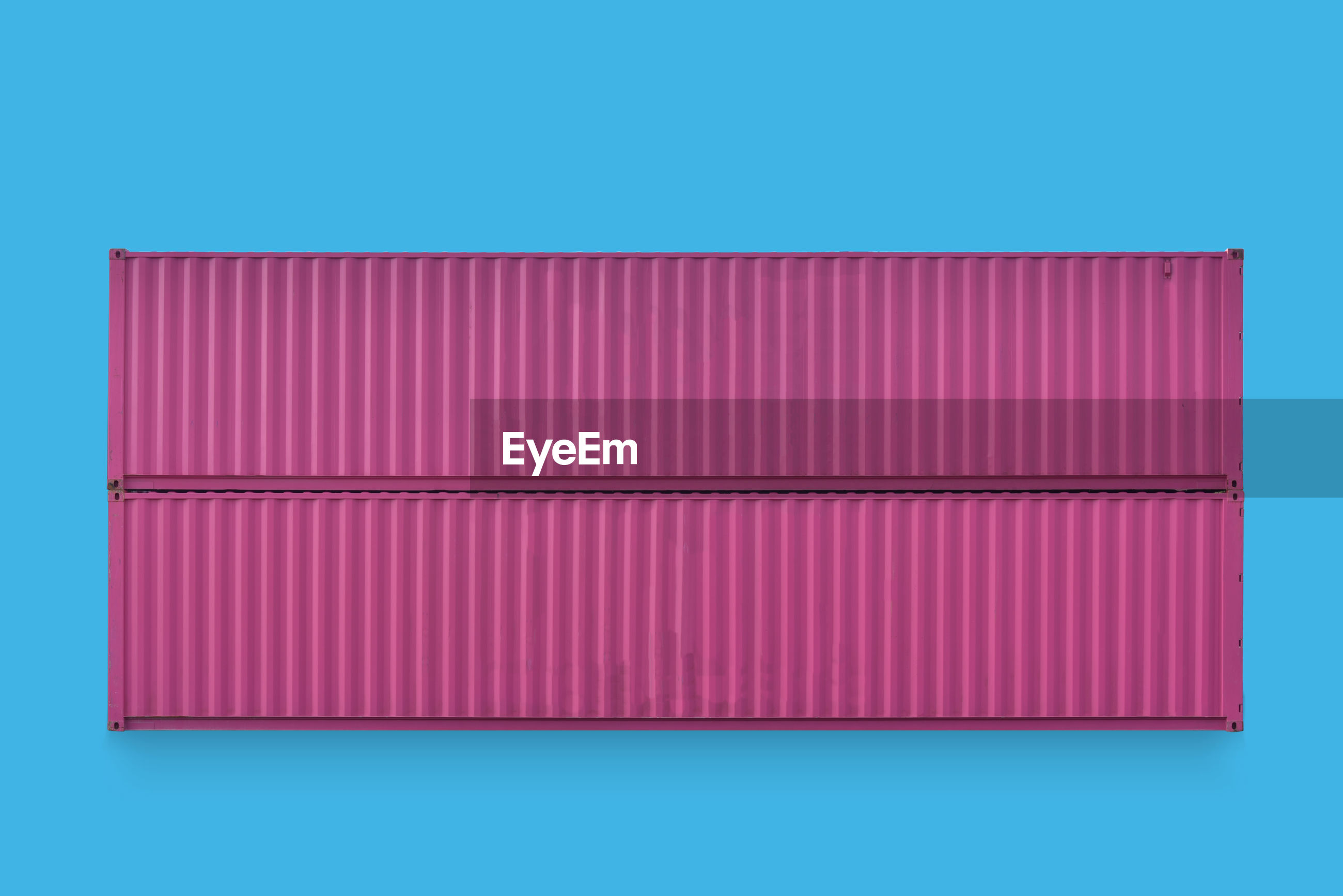 Cargo container on blue background