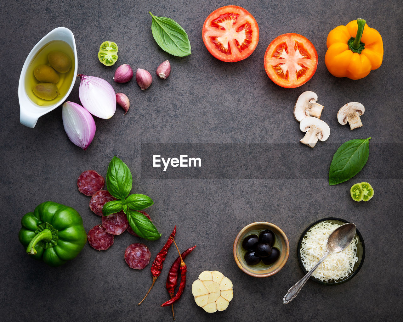 High angle view of ingredients on table