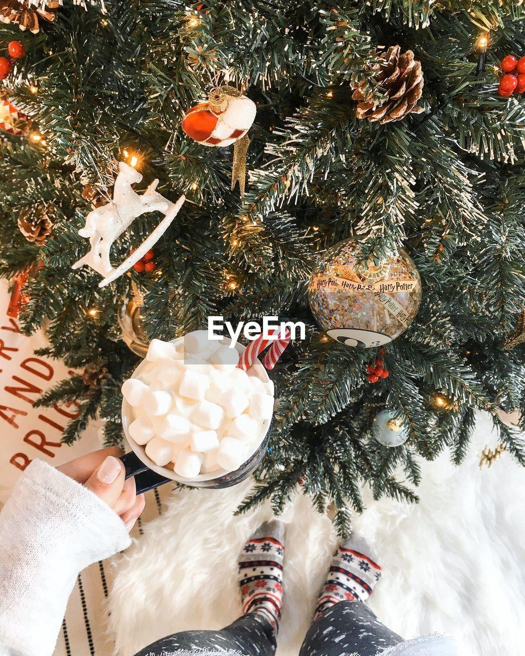 HIGH ANGLE VIEW OF CHRISTMAS DECORATION ON TREE