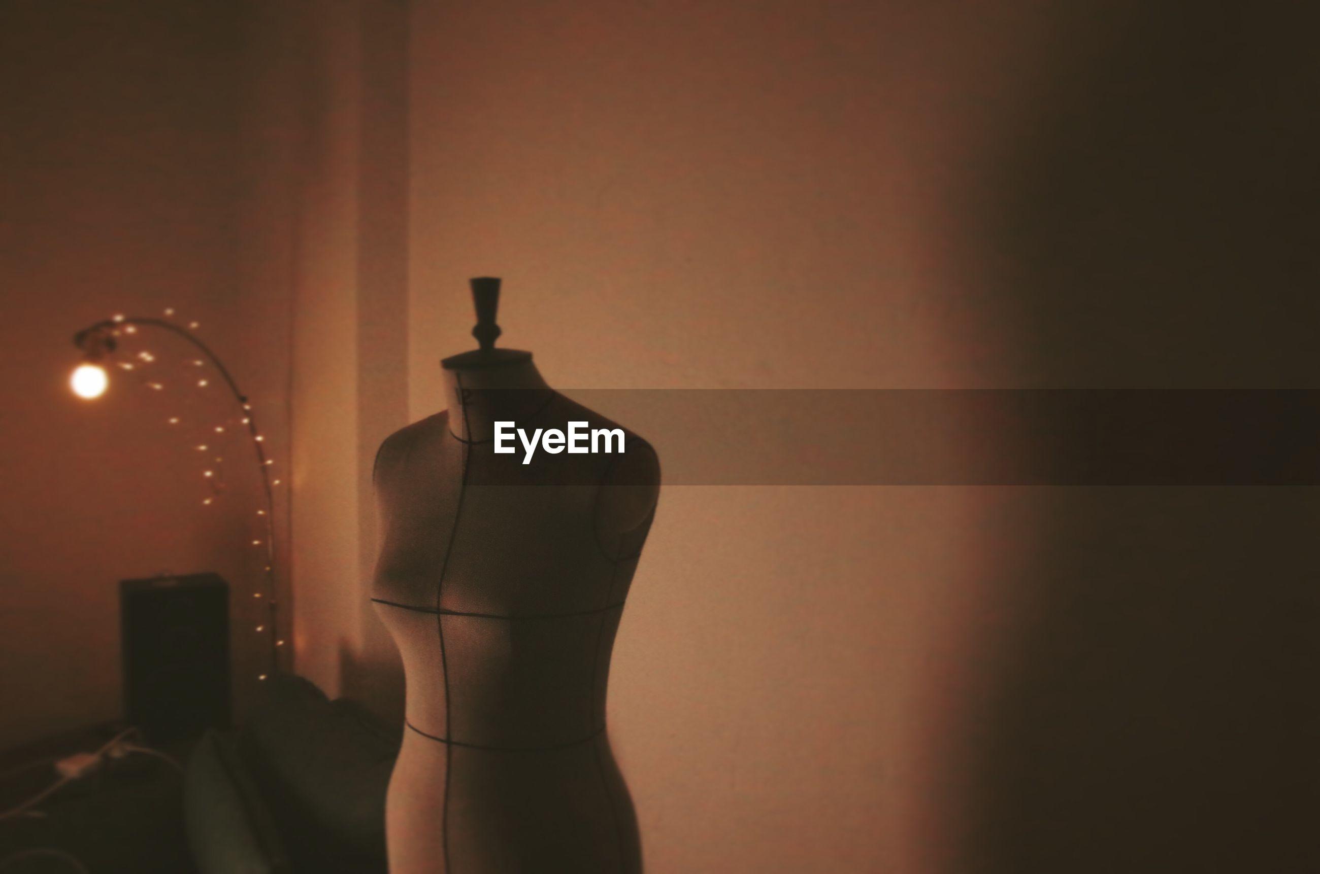 Mannequin in illuminated room