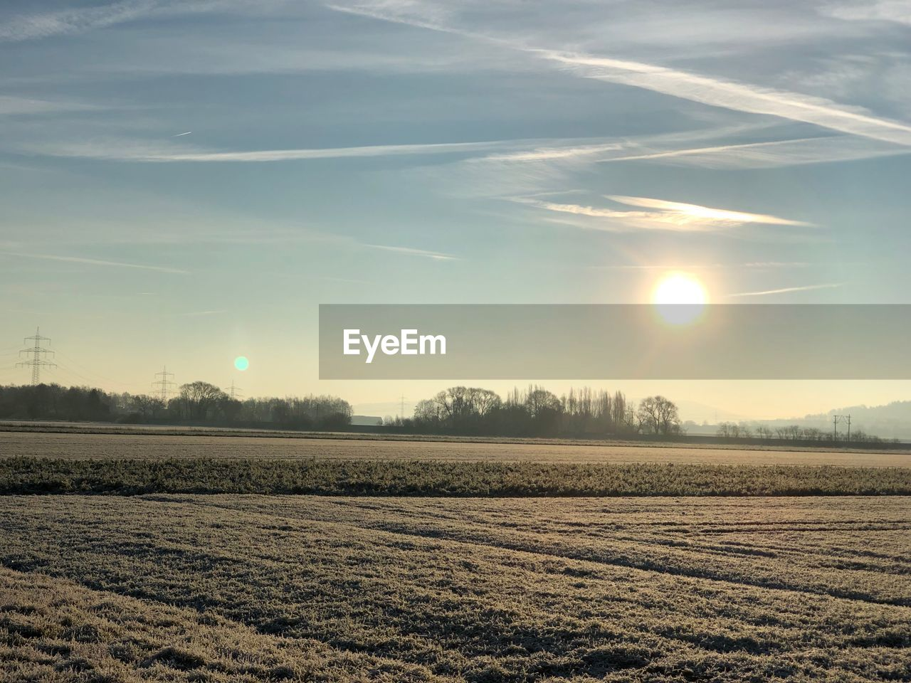 sky, landscape, tranquil scene, scenics - nature, beauty in nature, field, environment, tranquility, sun, land, sunlight, agriculture, nature, rural scene, no people, plant, sunset, tree, farm, non-urban scene, lens flare, outdoors, plantation