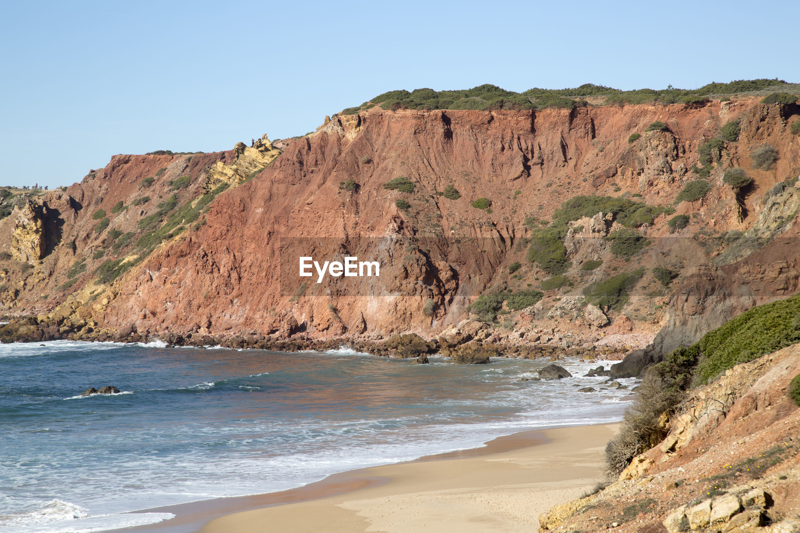 SCENIC VIEW OF ROCKY BEACH AGAINST CLEAR SKY