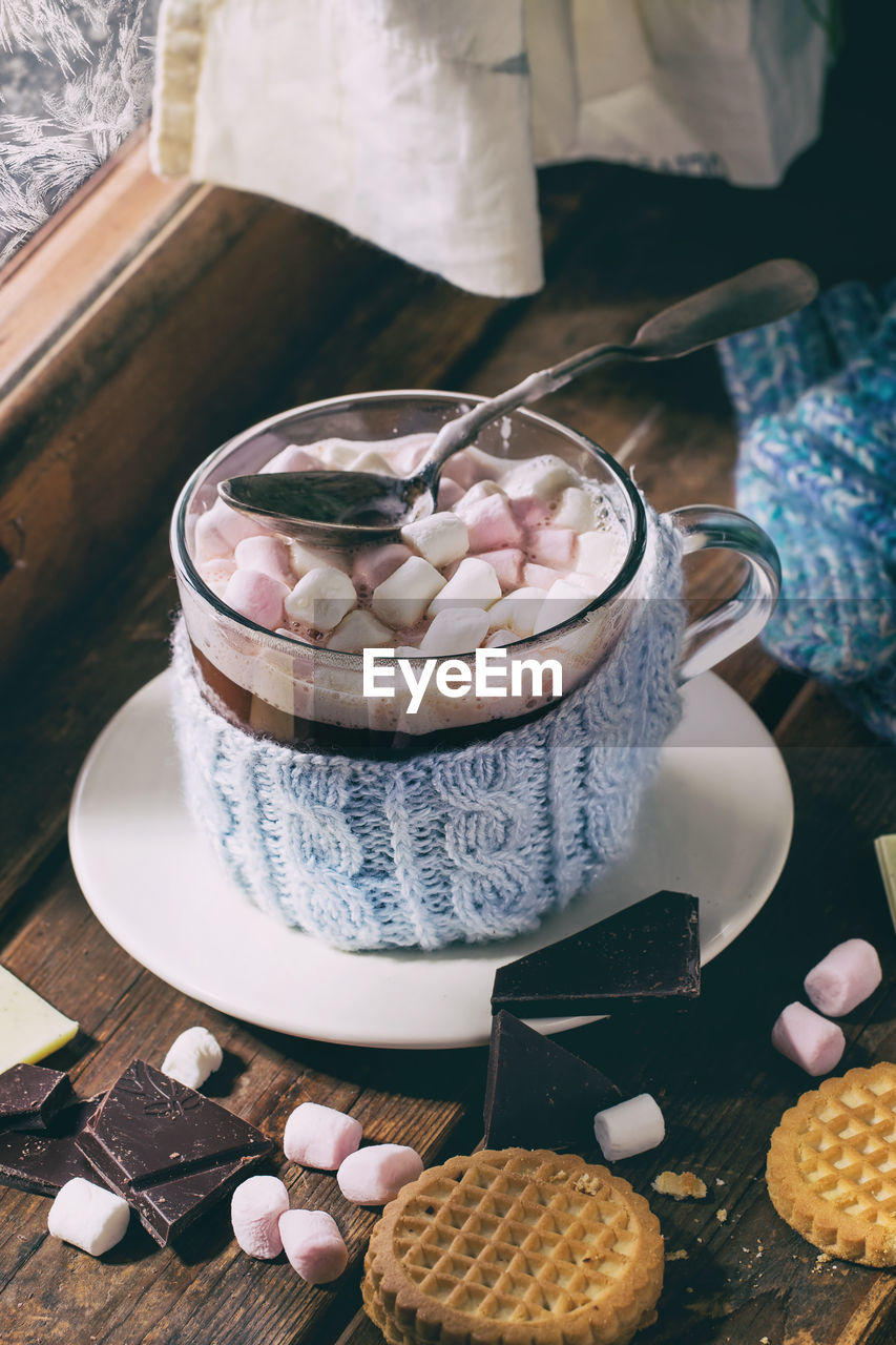 Hot Chocolate With Marshmallows On Table
