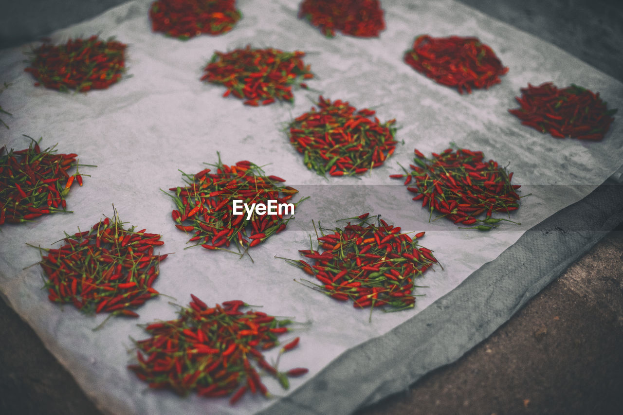 High Angle View Of Red Chili For Sale