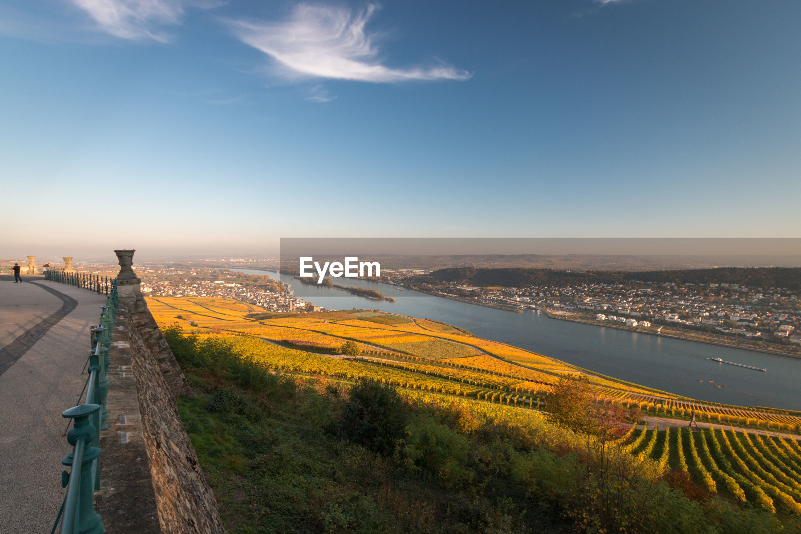Panoramic view to rheingau, bingen and rheinhessen with coloring vineyard in autumn against blue sky