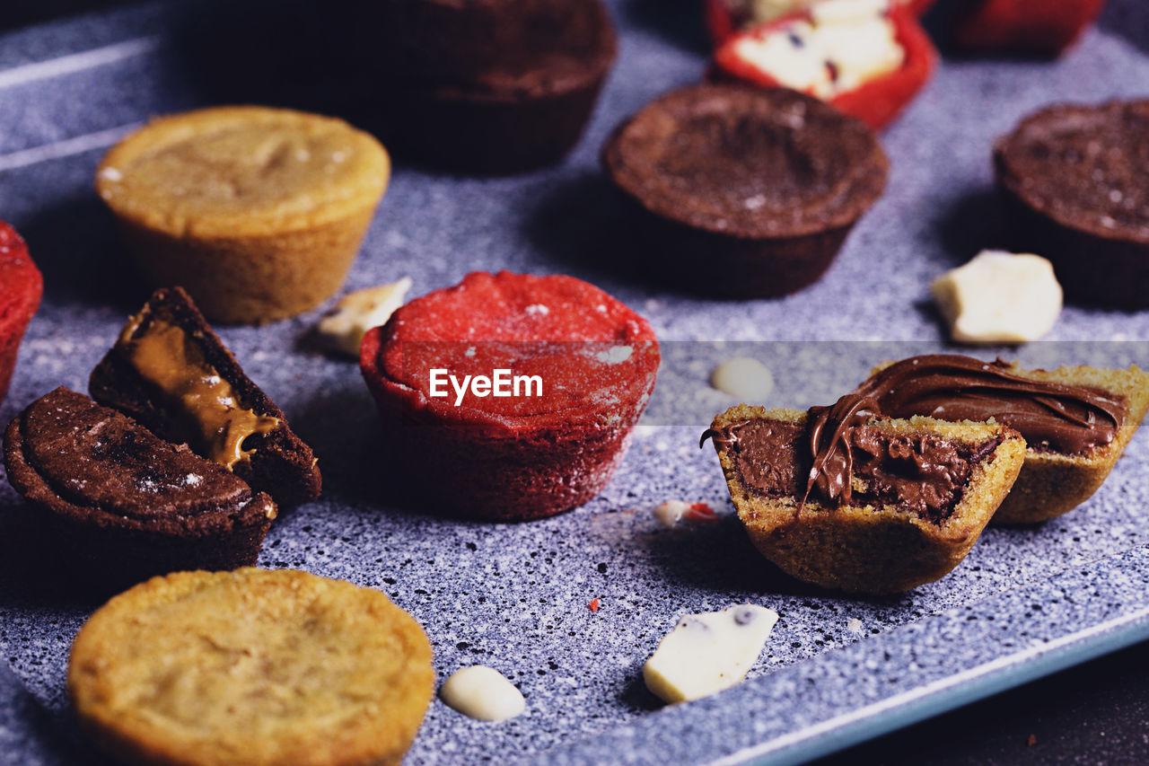 Close-up of desserts on baking sheet