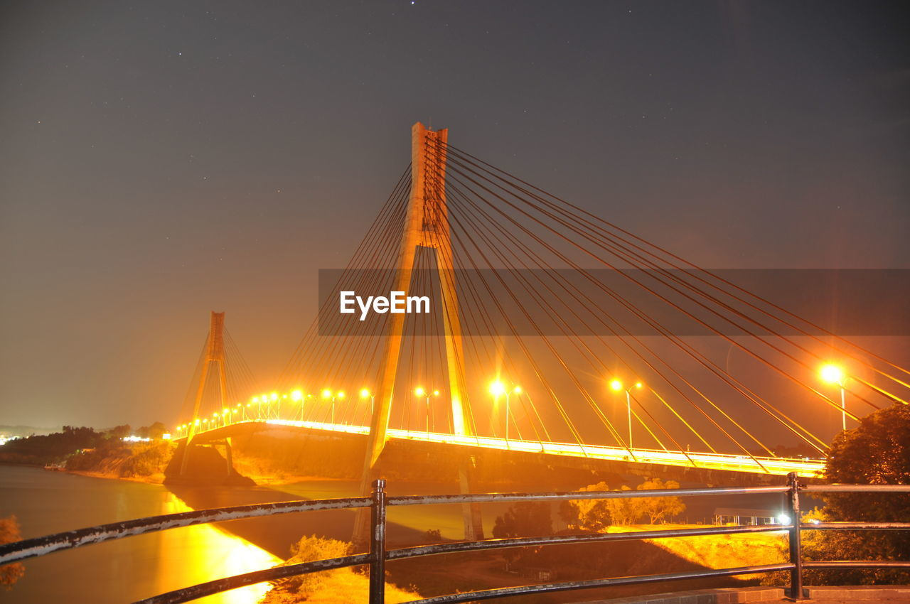 bridge - man made structure, suspension bridge, connection, night, water, architecture, transportation, built structure, sky, outdoors, illuminated, river, no people, sunset, travel destinations, chain bridge, city, clear sky, nature