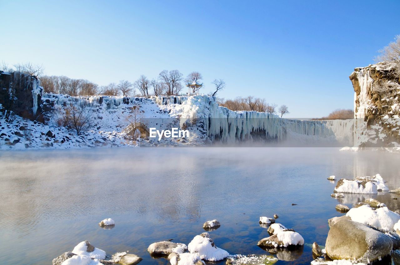 winter, cold temperature, snow, water, scenics - nature, sky, beauty in nature, nature, day, tranquil scene, frozen, non-urban scene, environment, no people, clear sky, tranquility, lake, tree, ice