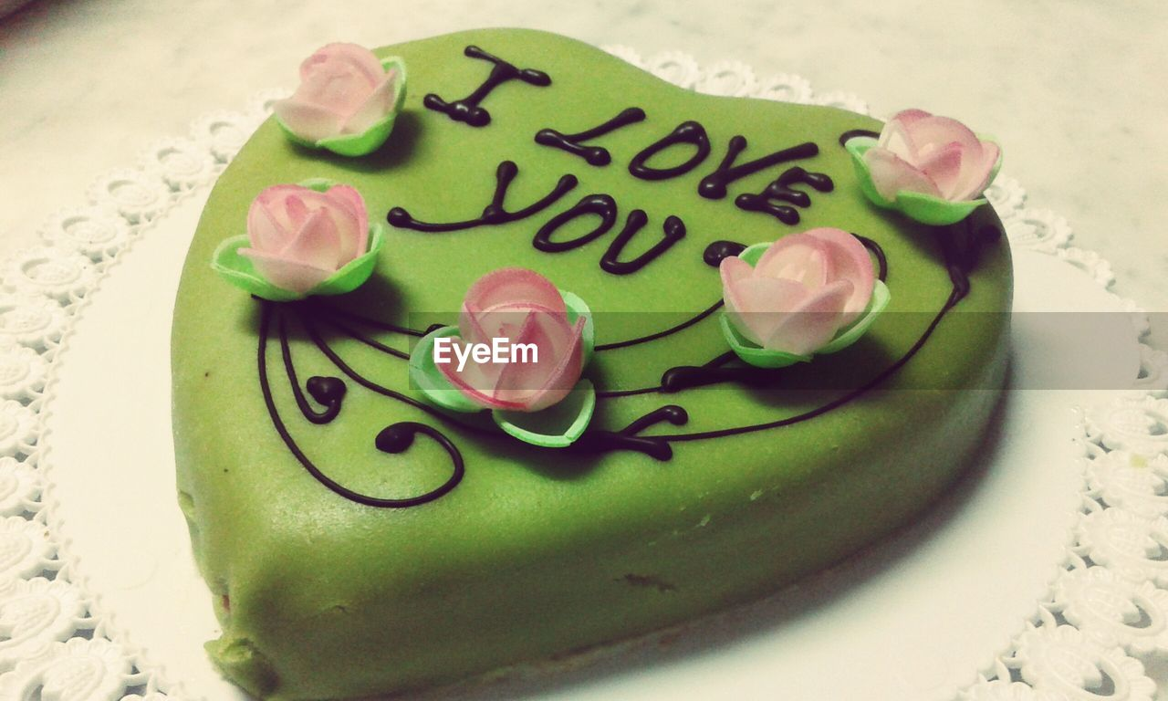 Heart Shaped Text Written I Love You In Cake