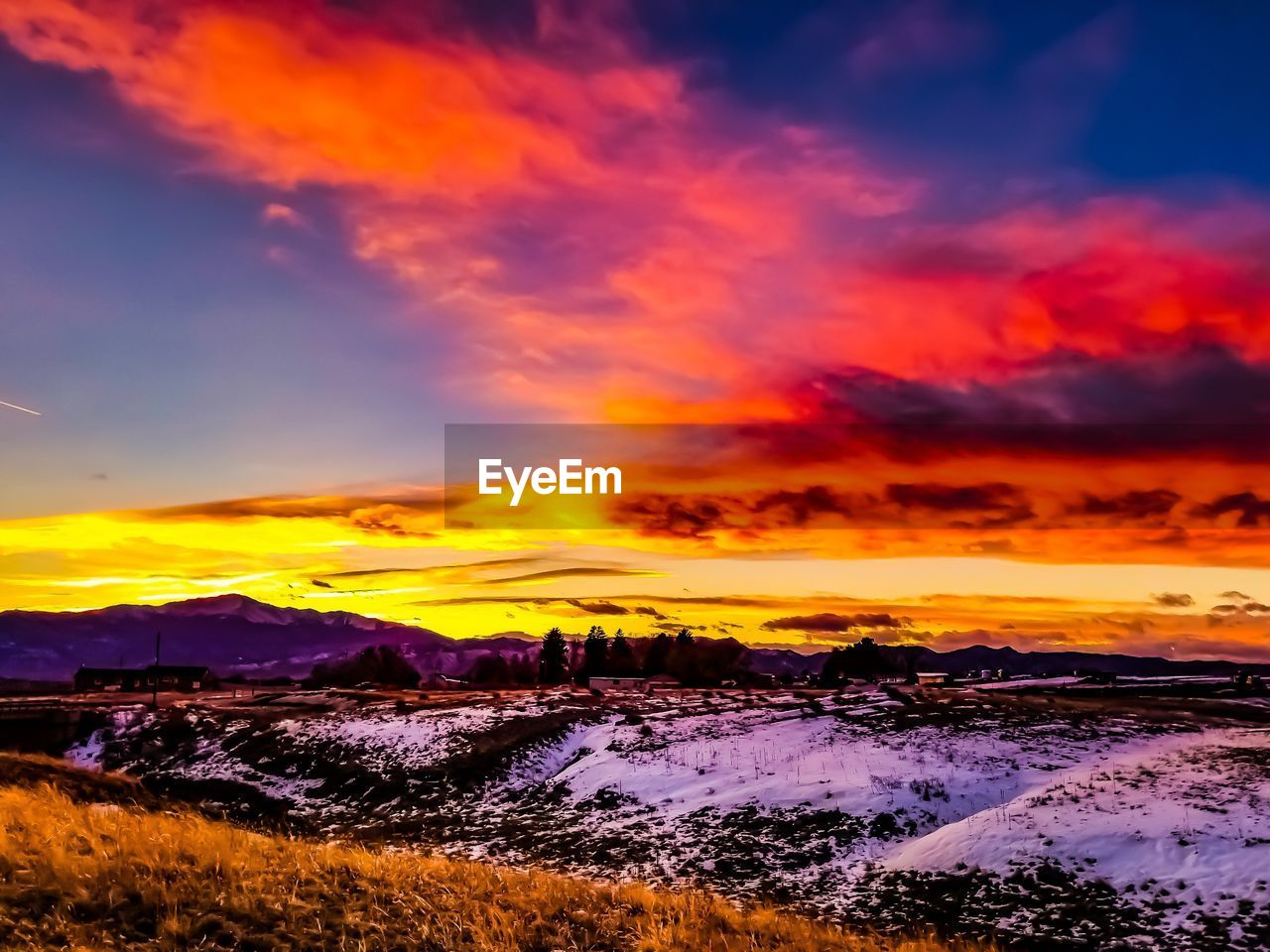 sunset, beauty in nature, sky, cloud - sky, scenics - nature, orange color, tranquility, tranquil scene, nature, idyllic, snow, no people, environment, dramatic sky, cold temperature, water, winter, mountain, landscape, outdoors