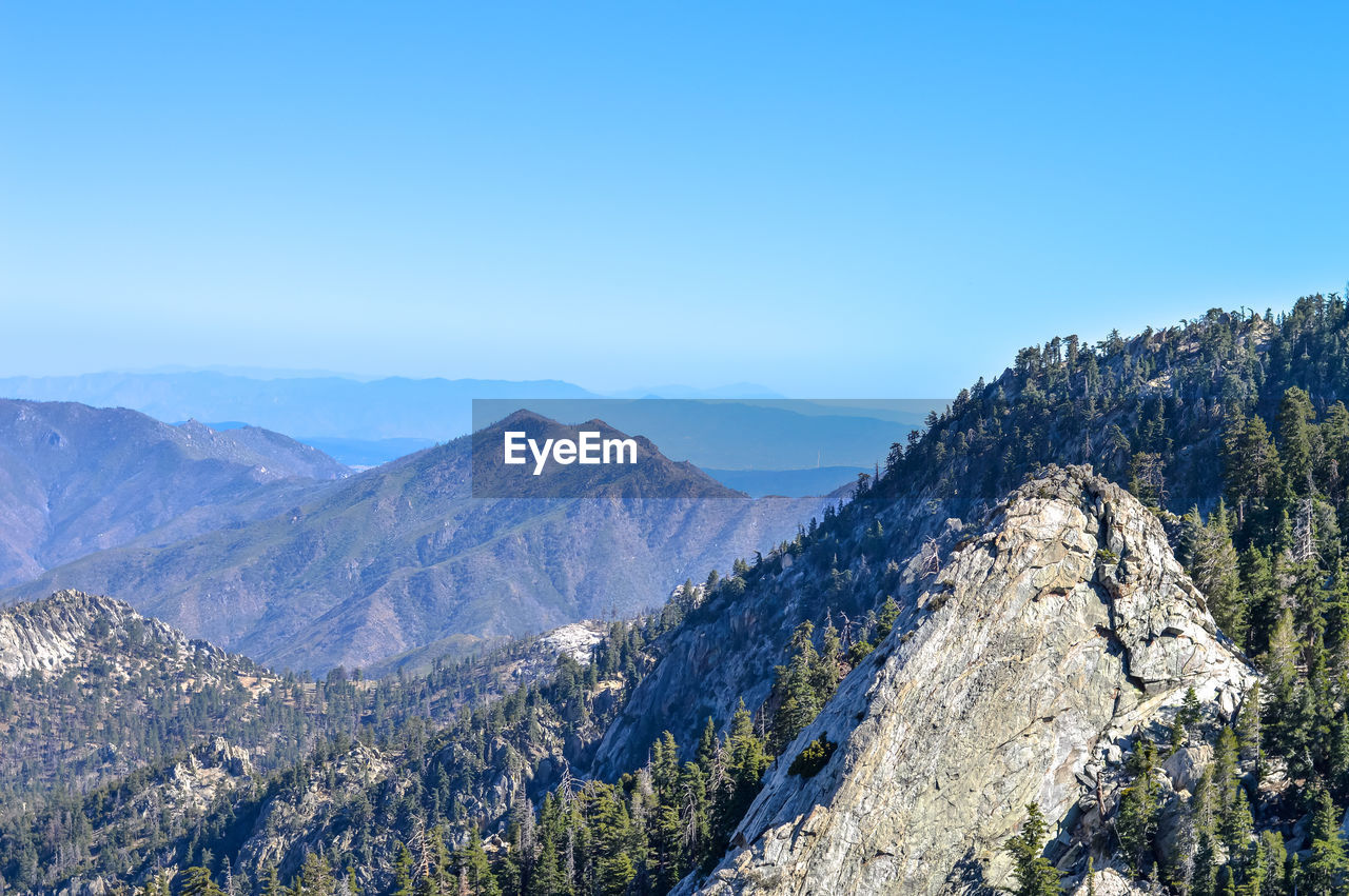 PANORAMIC VIEW OF MOUNTAIN RANGE AGAINST CLEAR BLUE SKY