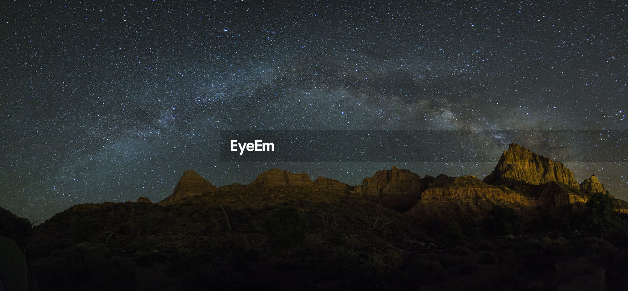 Scenic View Of Zion National Park Against Star Field