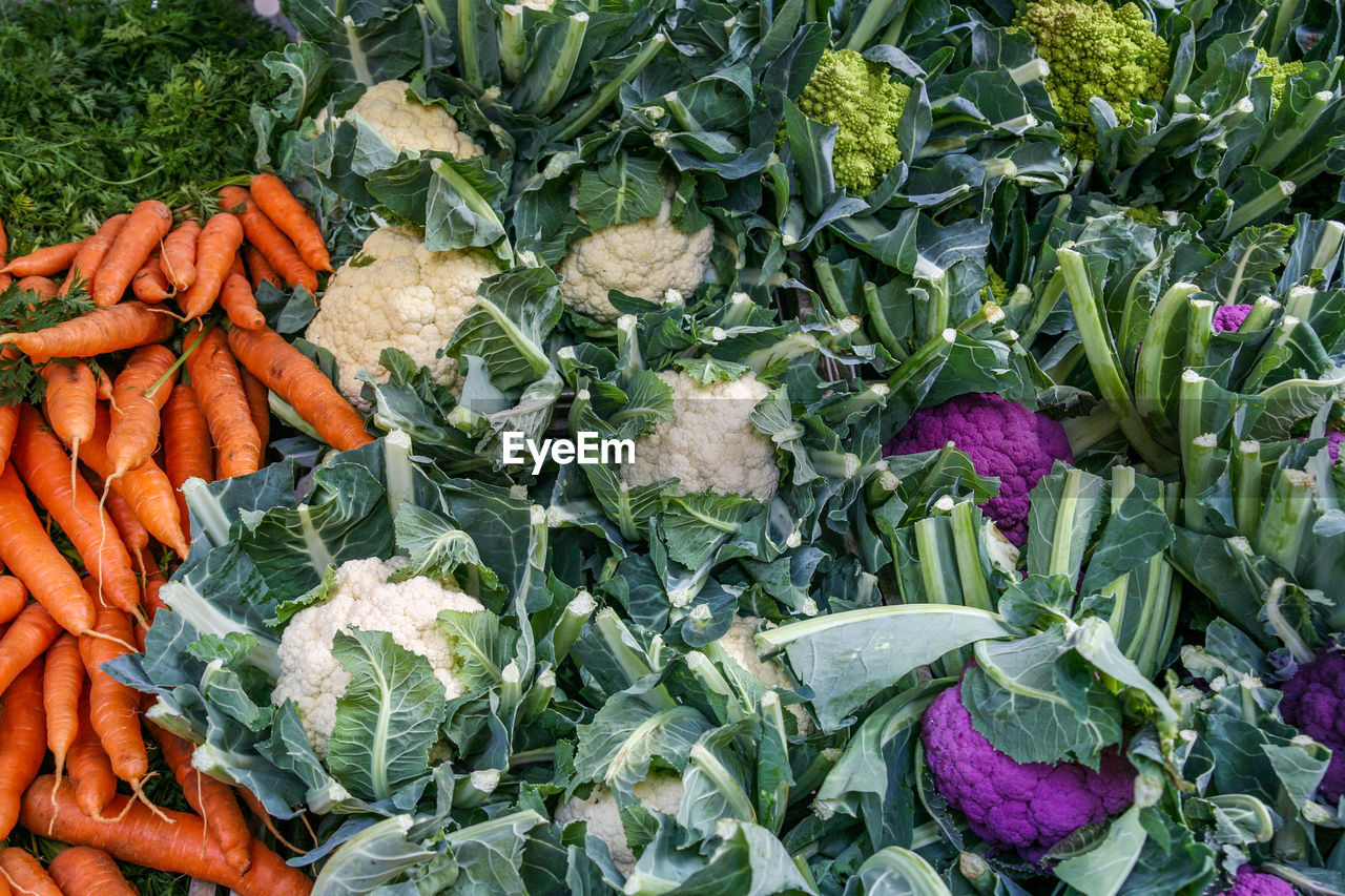 HIGH ANGLE VIEW OF VEGETABLES ON MARKET