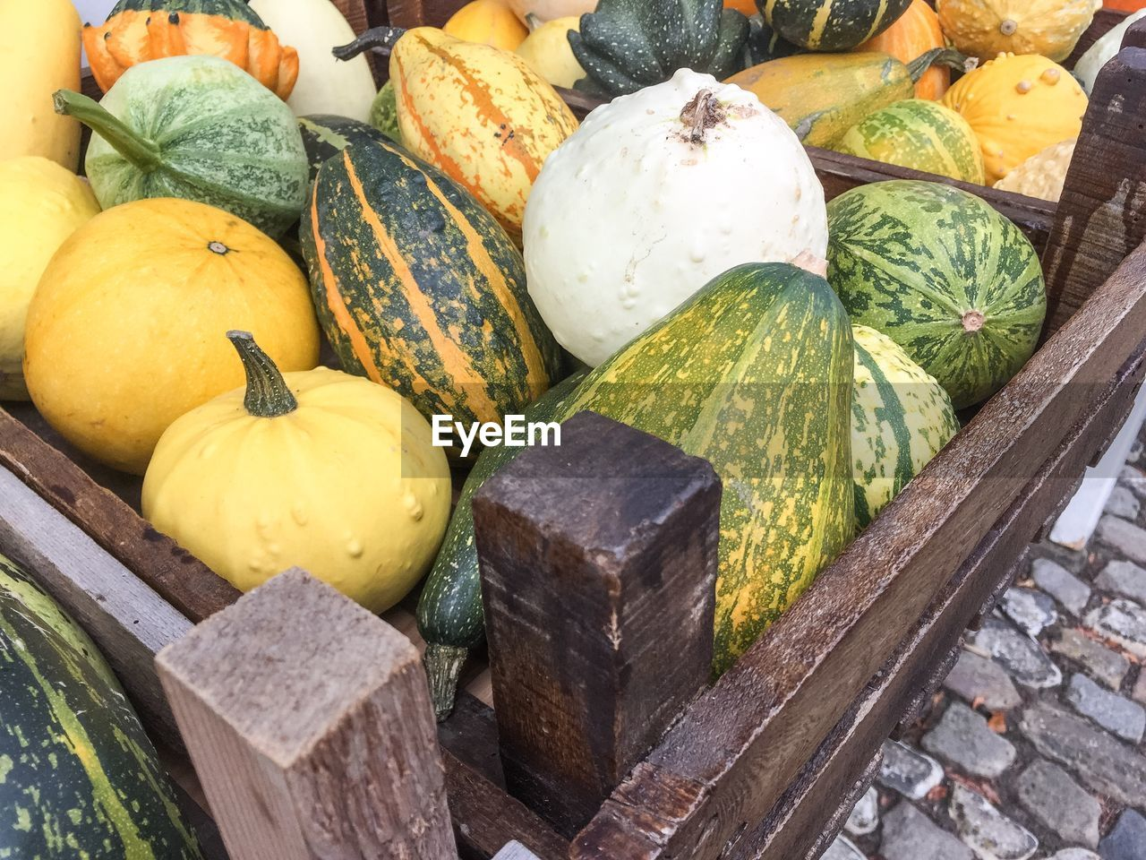 High angle view of squashes for sale at market