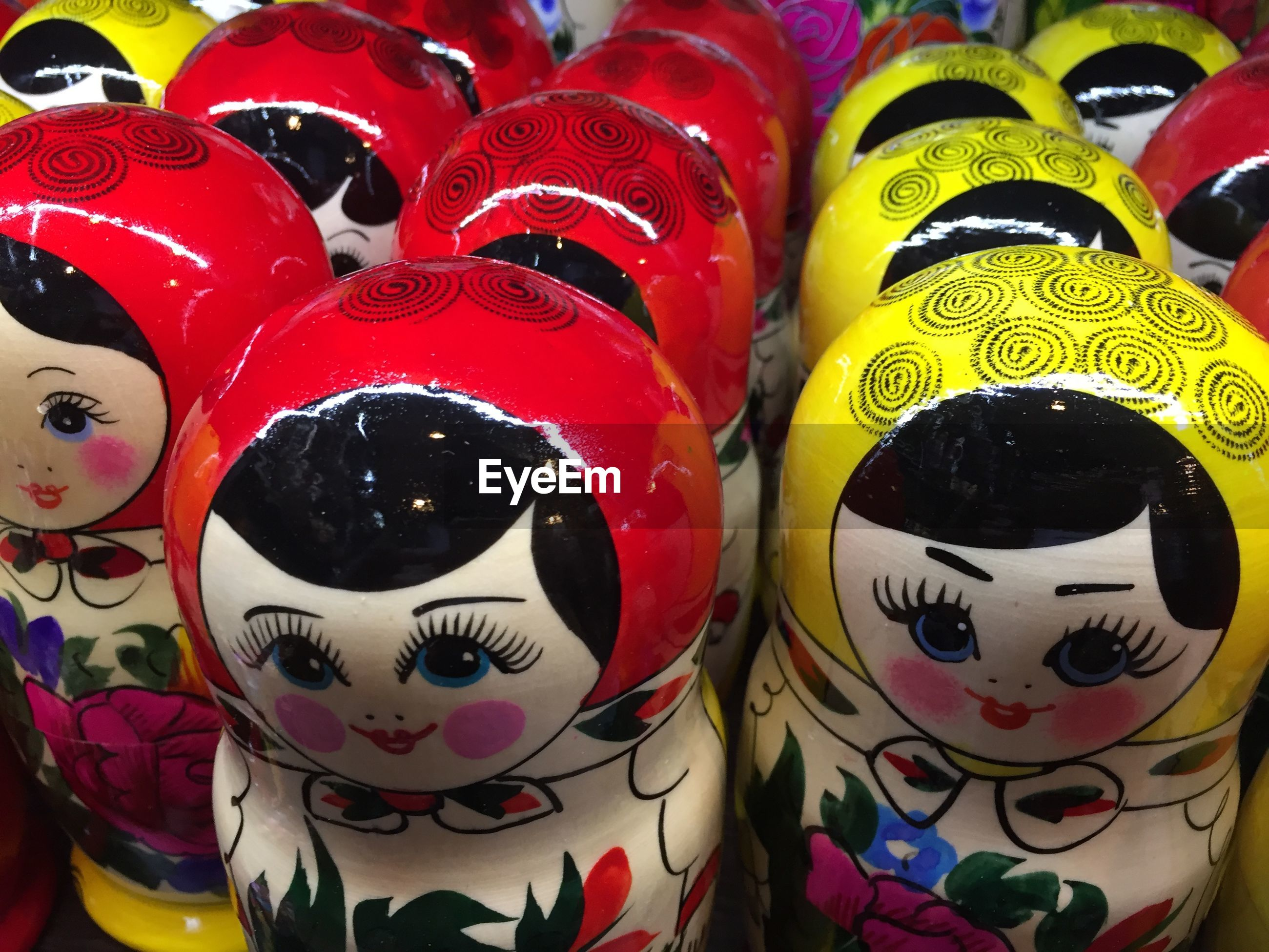 High angle view of russian nesting doll for sale at market