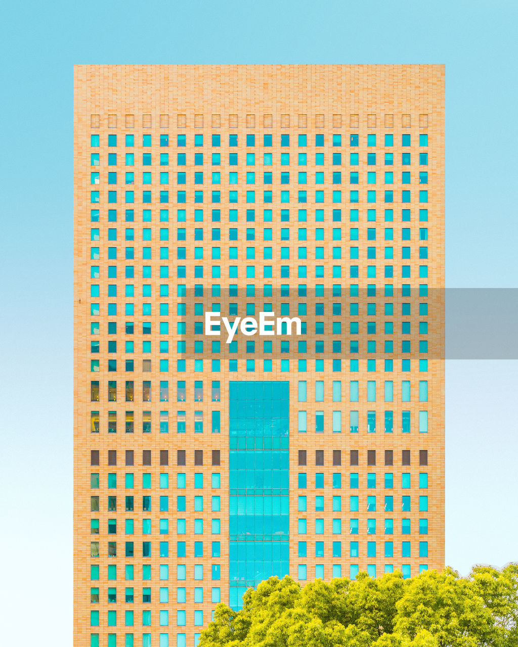 architecture, built structure, no people, building exterior, sky, plant, green color, nature, blue, day, pattern, tree, outdoors, building, window, office building exterior, clear sky, city, design, low angle view, skyscraper