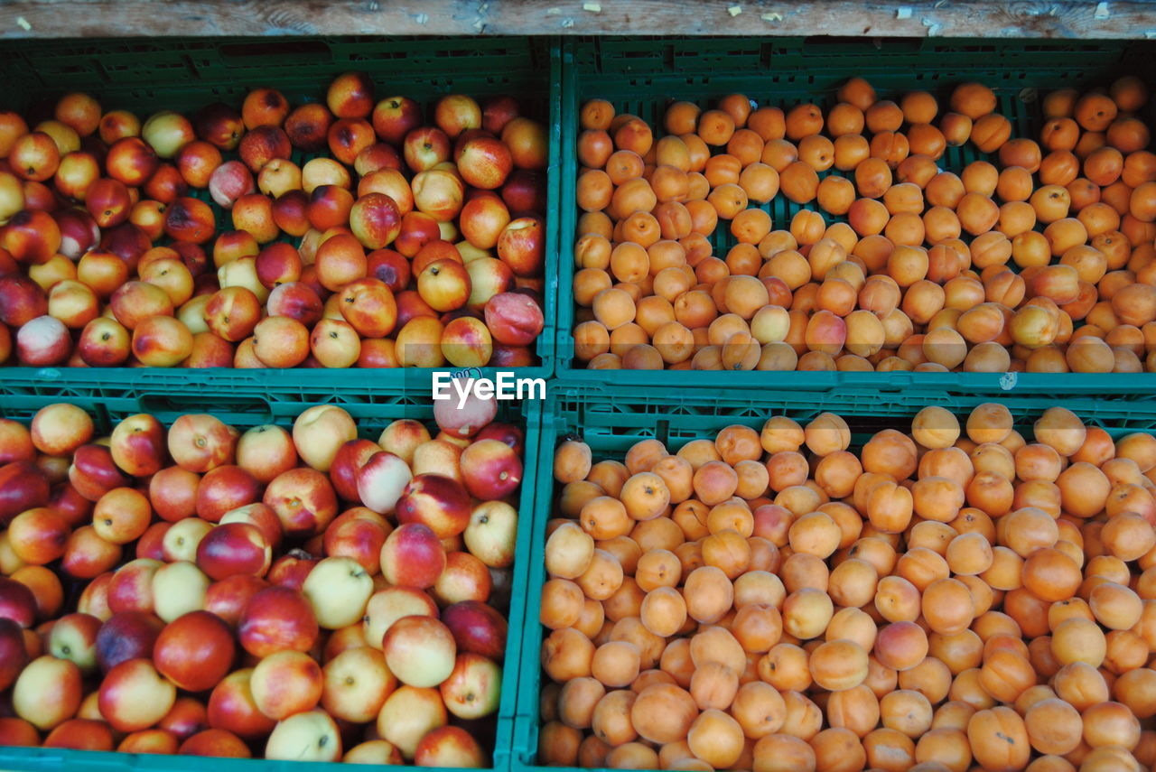 High Angle View Of Peaches At Market