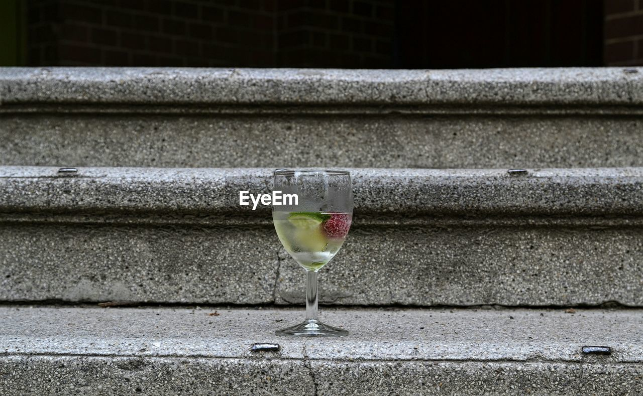 Drink In Glass On Steps