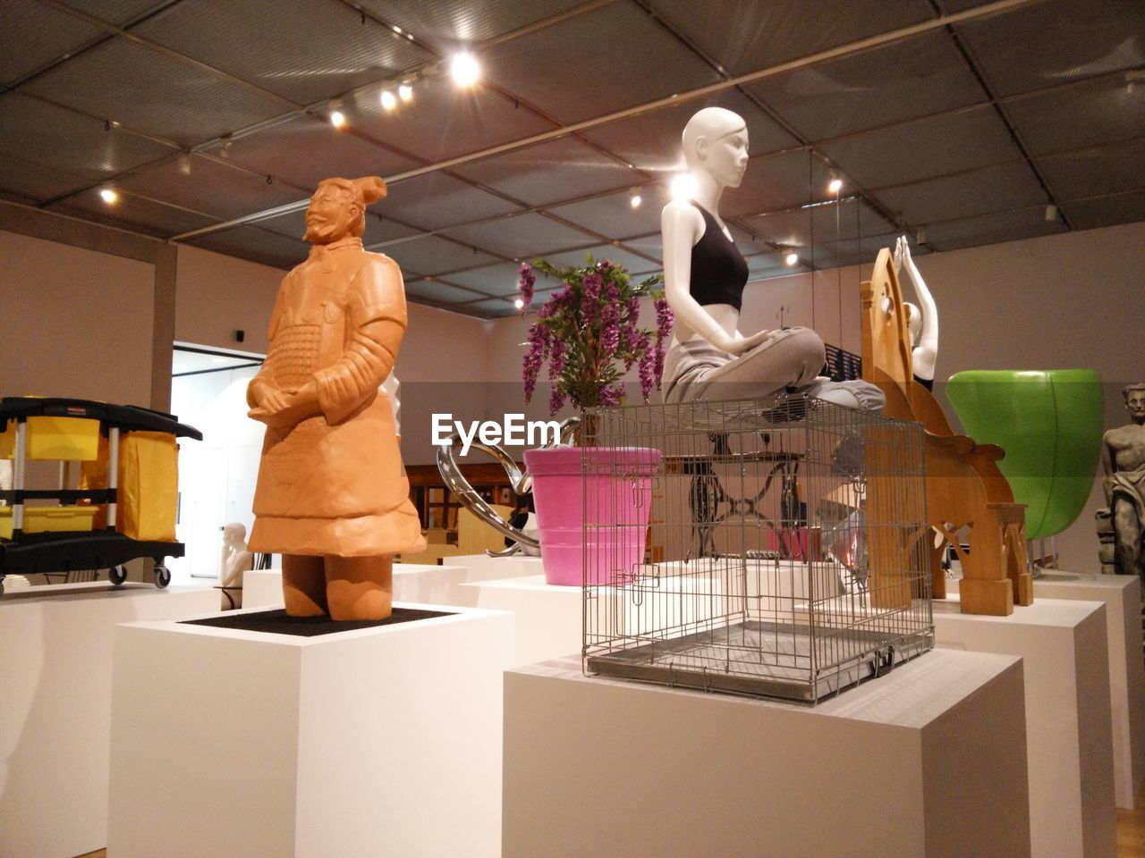 human representation, indoors, men, standing, retail, cardboard box, real people, one person, illuminated, day