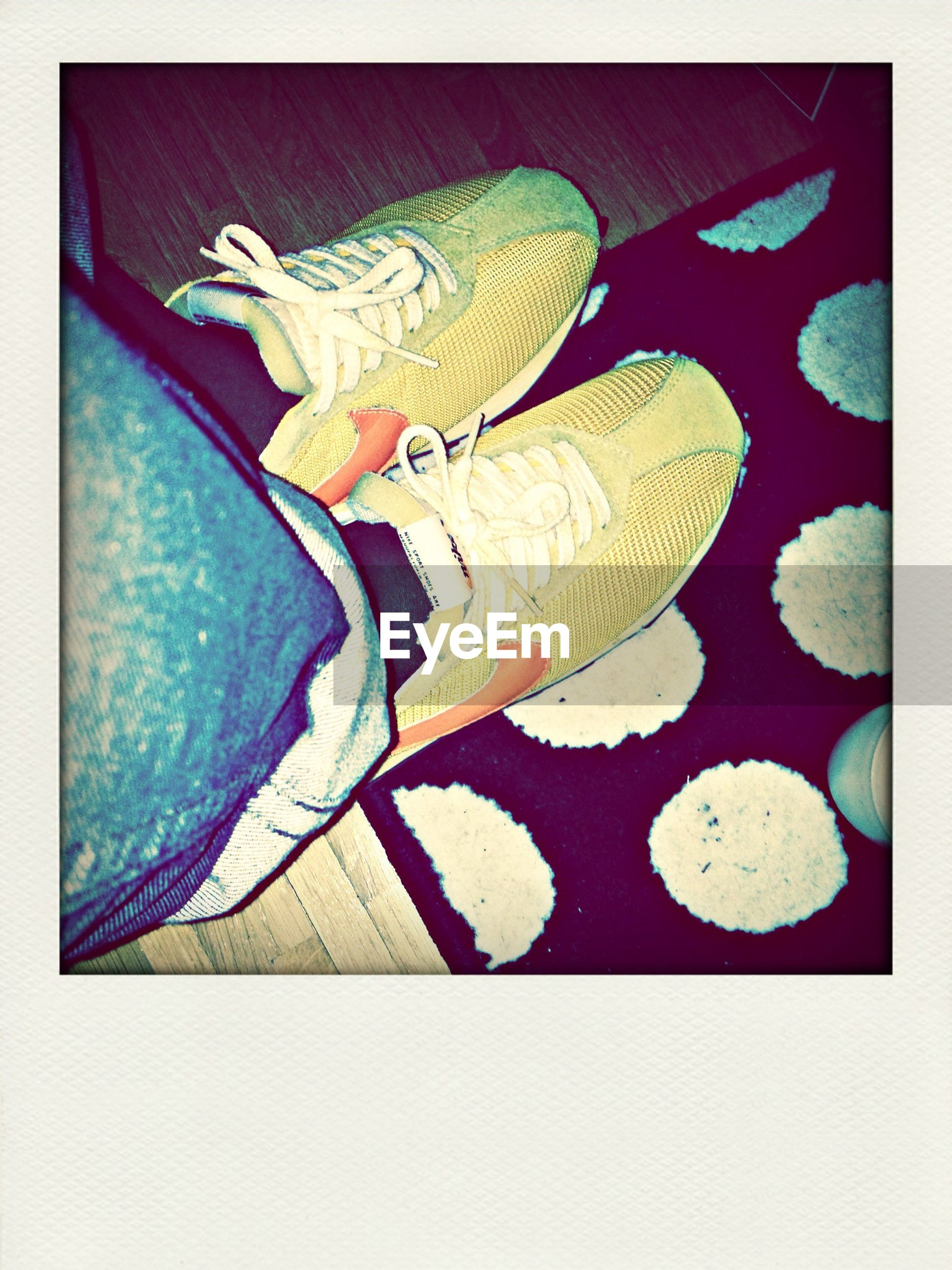 transfer print, auto post production filter, high angle view, indoors, low section, shoe, person, directly above, creativity, footwear, pattern, multi colored, close-up, art and craft, human foot, personal perspective, flooring