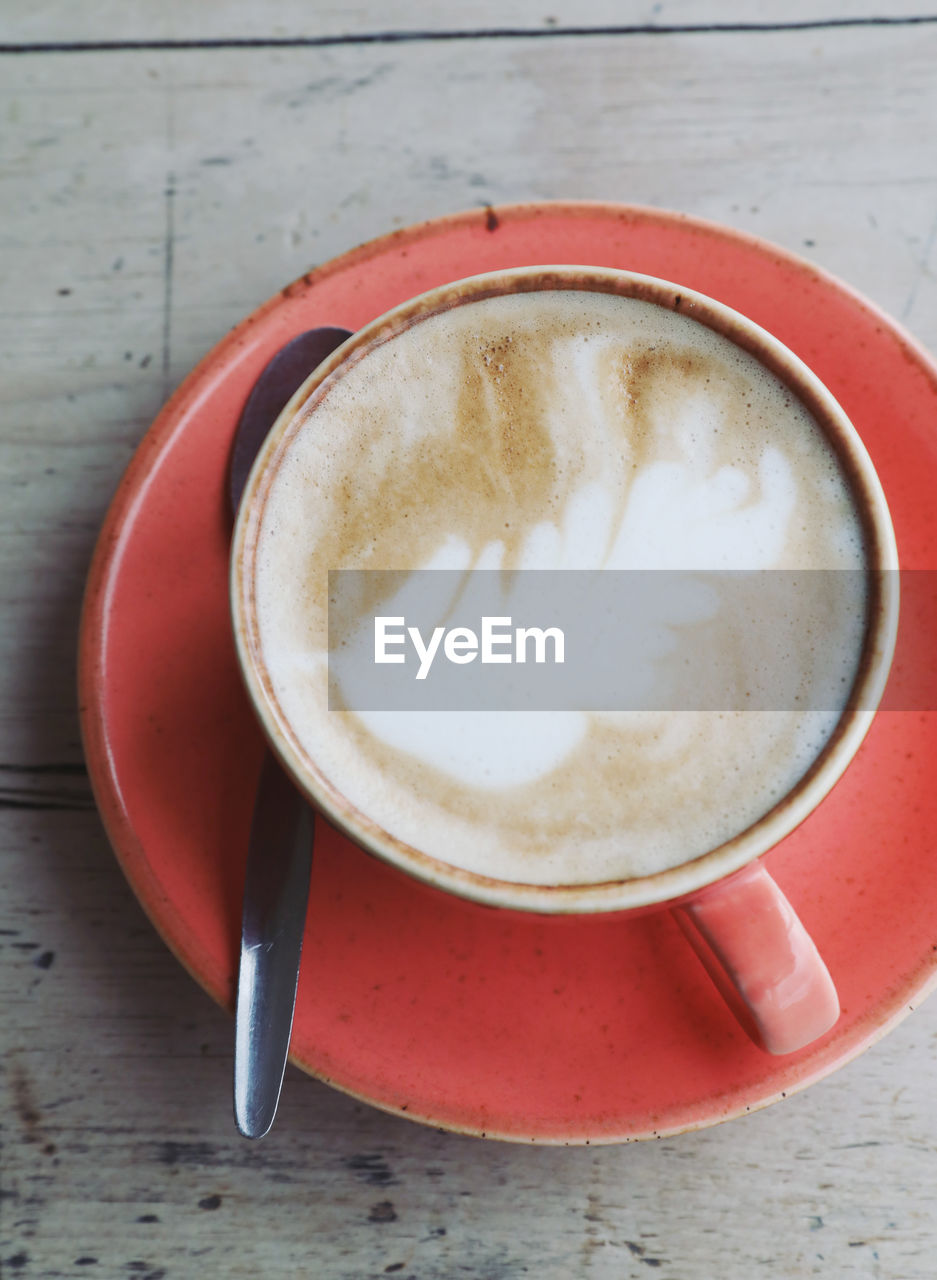 refreshment, coffee, drink, coffee - drink, food and drink, coffee cup, frothy drink, cup, mug, still life, table, eating utensil, close-up, kitchen utensil, spoon, cappuccino, no people, hot drink, directly above, indoors, crockery, latte, froth, non-alcoholic beverage