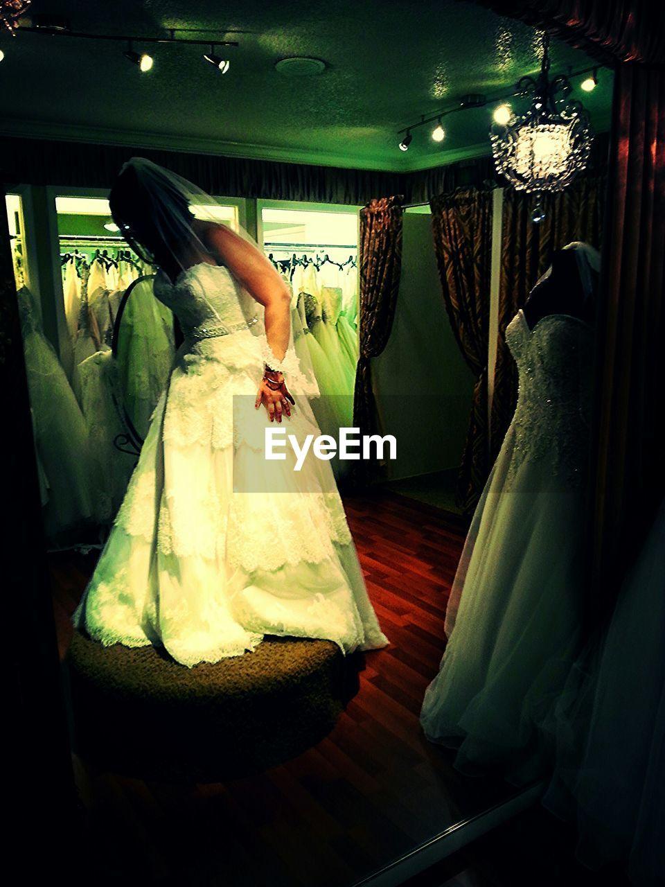 bride, wedding, wedding dress, life events, women, indoors, real people, full length, food, men, groom, one person, bridegroom, day, people