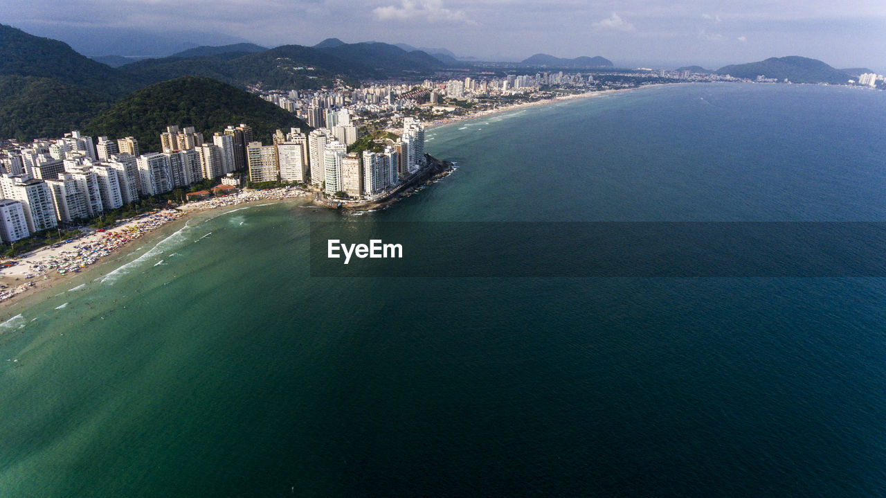High Angle View Of Sea And Cityscape