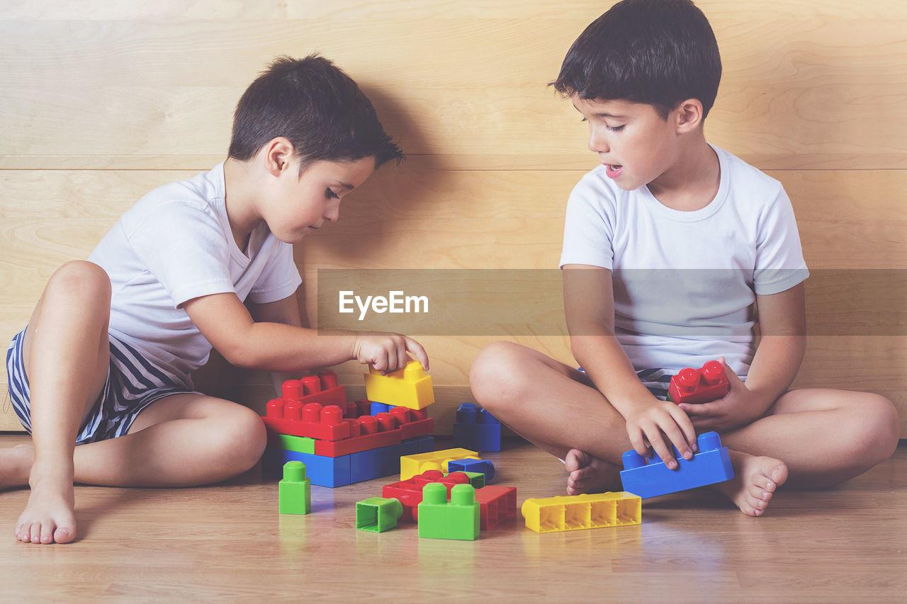 Brothers Playing With Colorful Toy Blocks While Sitting On Floor At Home