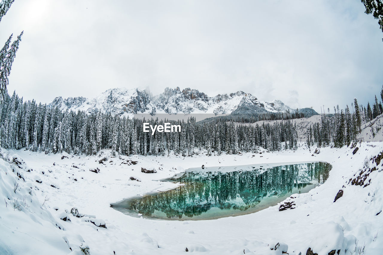 winter, cold temperature, snow, beauty in nature, scenics - nature, sky, tranquility, tree, tranquil scene, mountain, plant, nature, cloud - sky, day, non-urban scene, white color, no people, landscape, environment, snowcapped mountain, outdoors