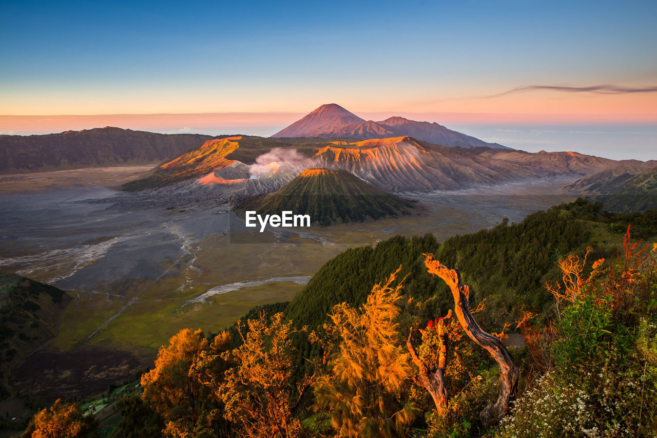 Scenic View Of Volcano At Bromo-Tengger-Semeru National Park Against Sky During Sunset