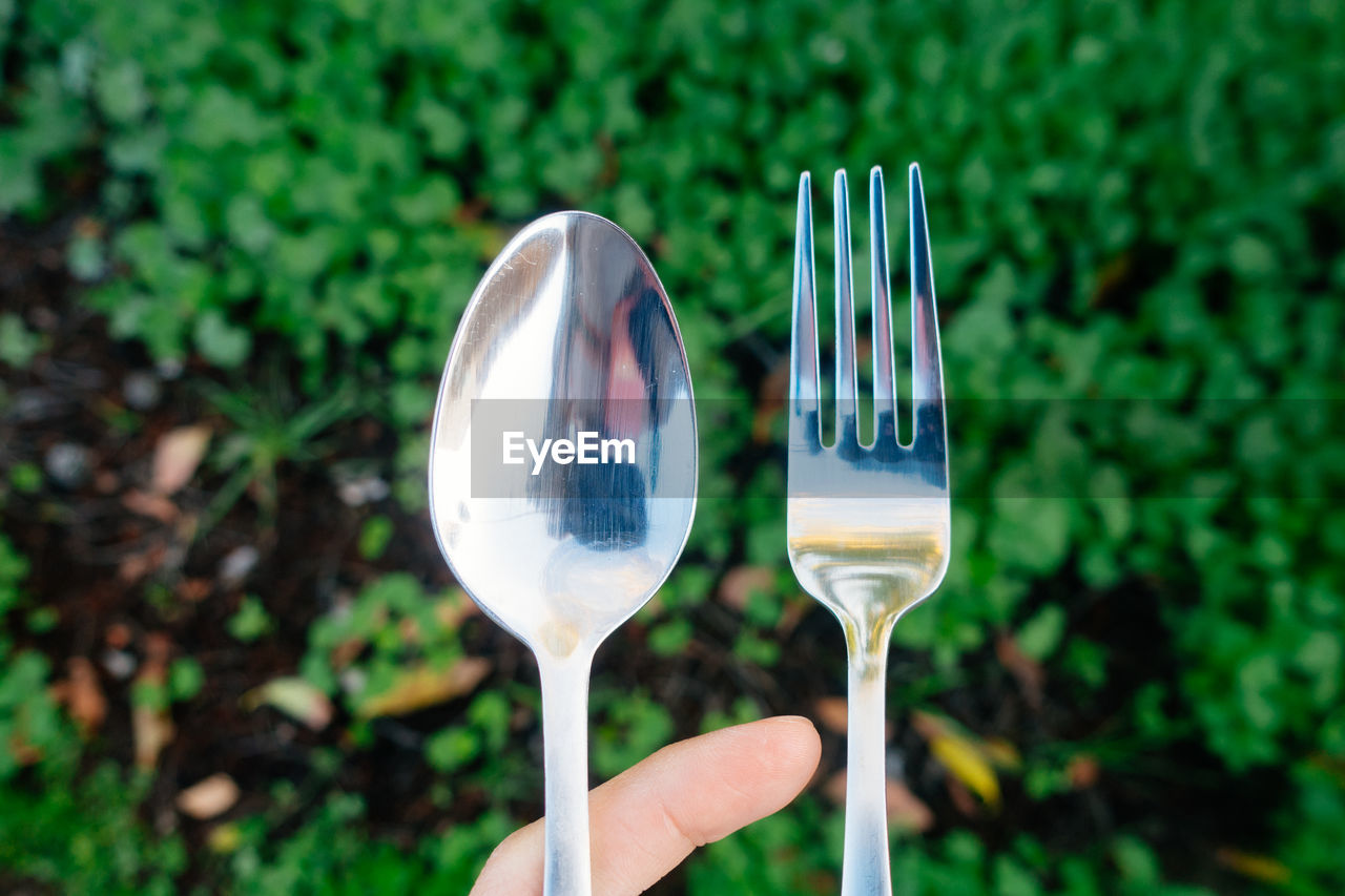 Close-Up Of Spoon And Fork Against Plants