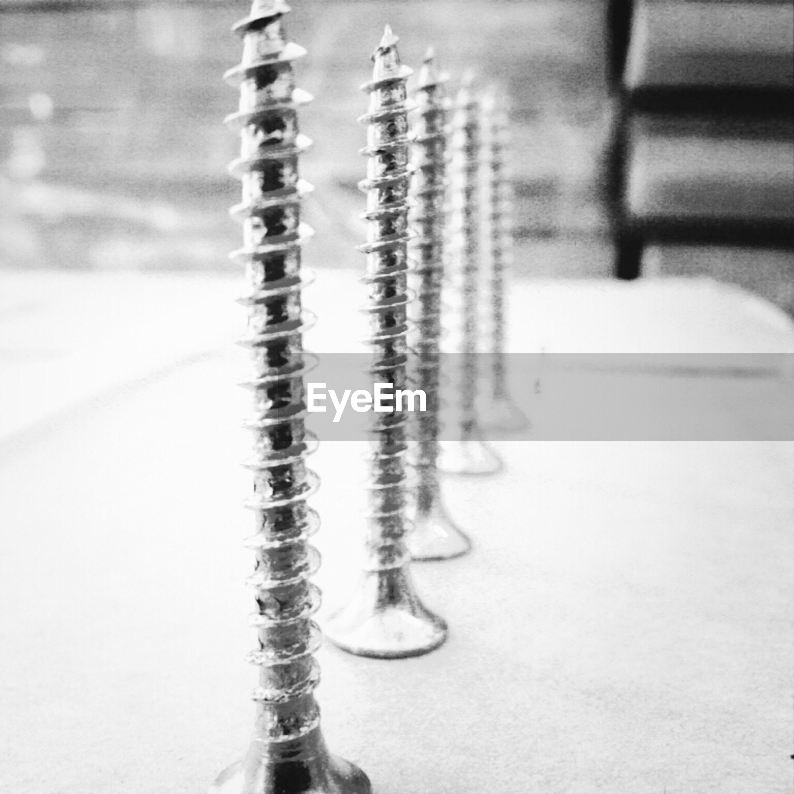 Screws on table
