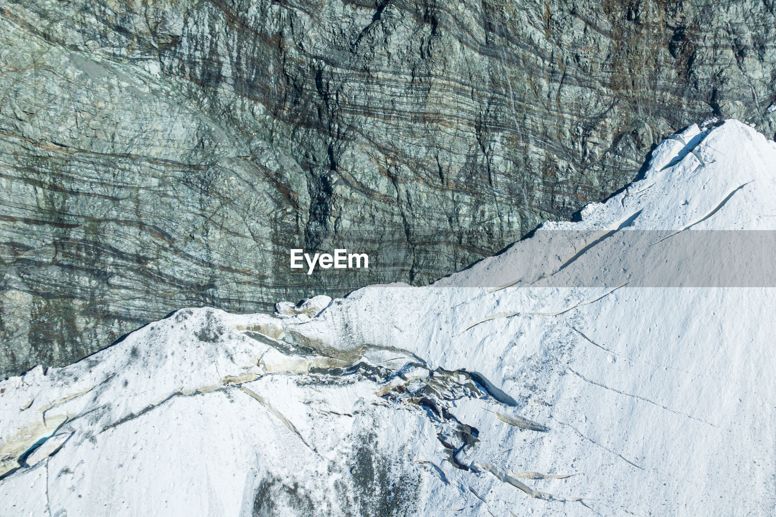 Top view of glacier on mountains