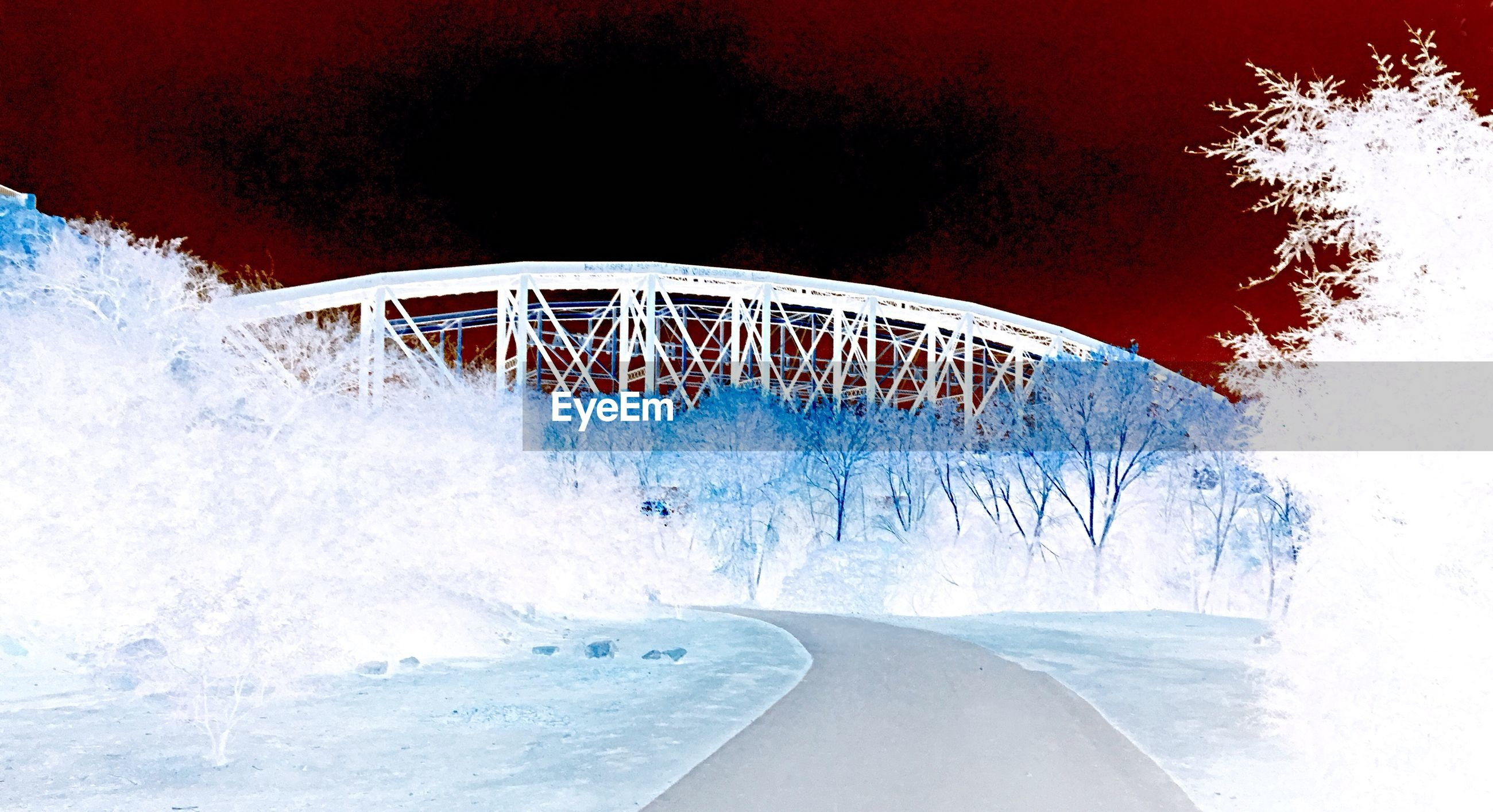 sport, nature, architecture, motion, bridge, no people, sky, built structure, outdoors, water, transportation, bridge - man made structure, tree, day, connection, blue, cold temperature, white color, arch, power in nature