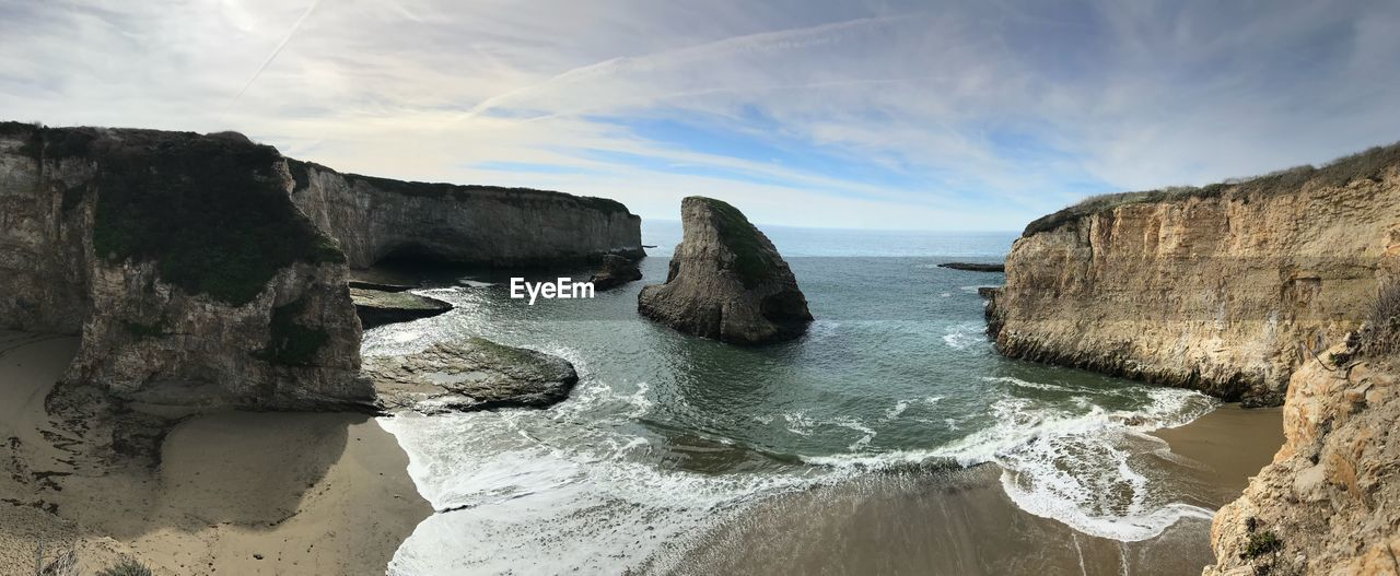 sea, water, beauty in nature, sky, rock, scenics - nature, rock - object, land, rock formation, tranquility, solid, nature, beach, tranquil scene, non-urban scene, no people, cloud - sky, idyllic, horizon, horizon over water, outdoors, stack rock, eroded