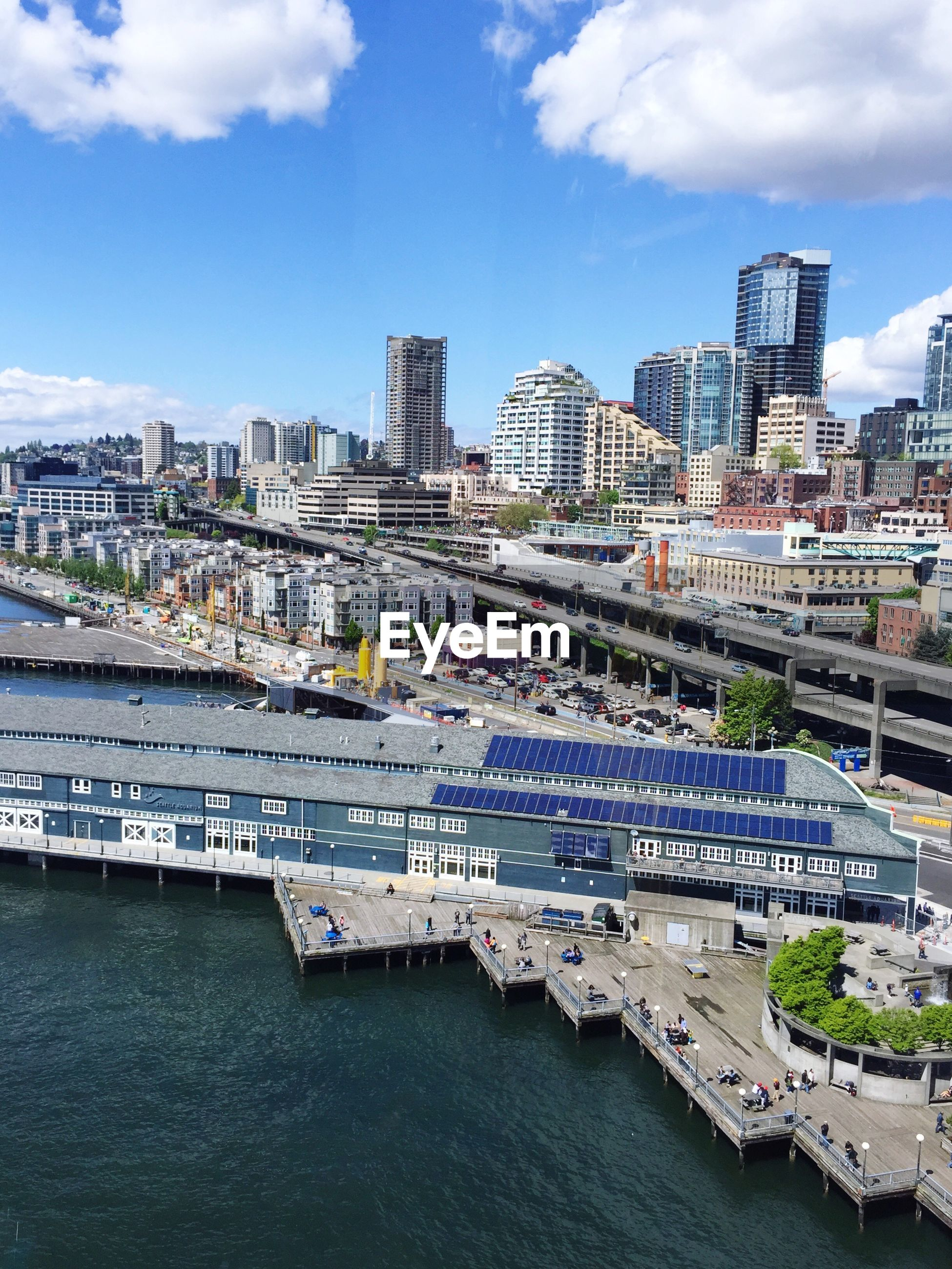 High angle view of cityscape taken from seattle great wheel against sky