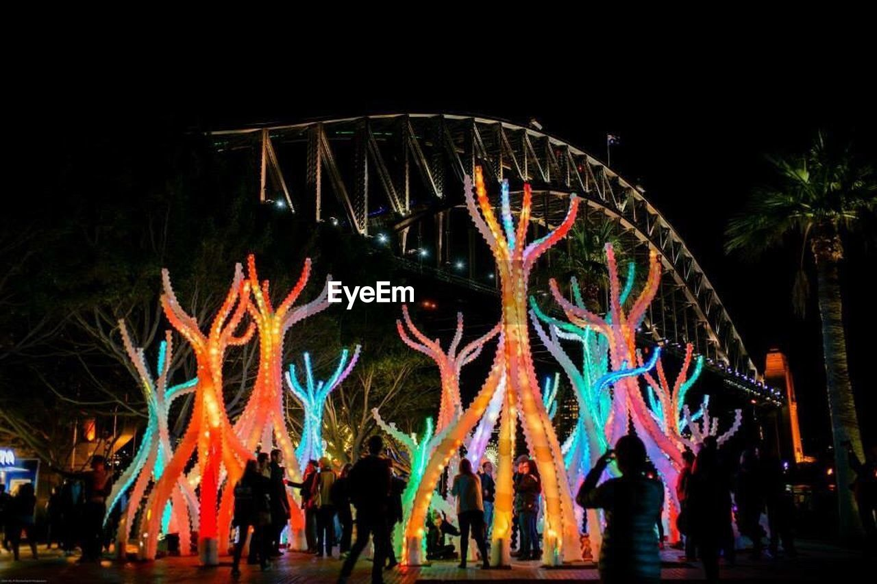 night, illuminated, leisure activity, real people, arts culture and entertainment, outdoors, multi colored, large group of people, lifestyles, men, low angle view, tree, women, sky, people, adult, adults only