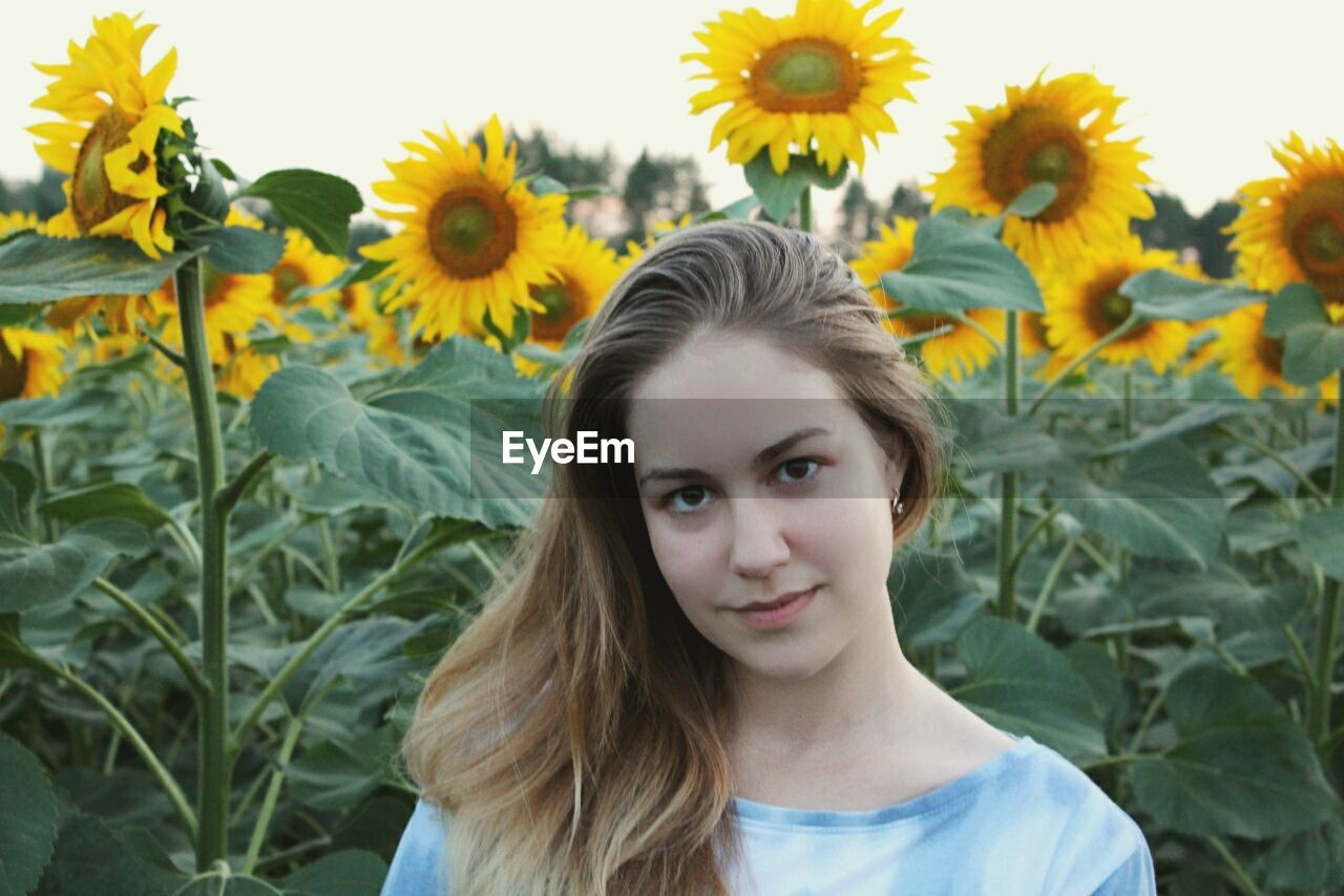 Portrait of young woman standing by sunflowers in farm