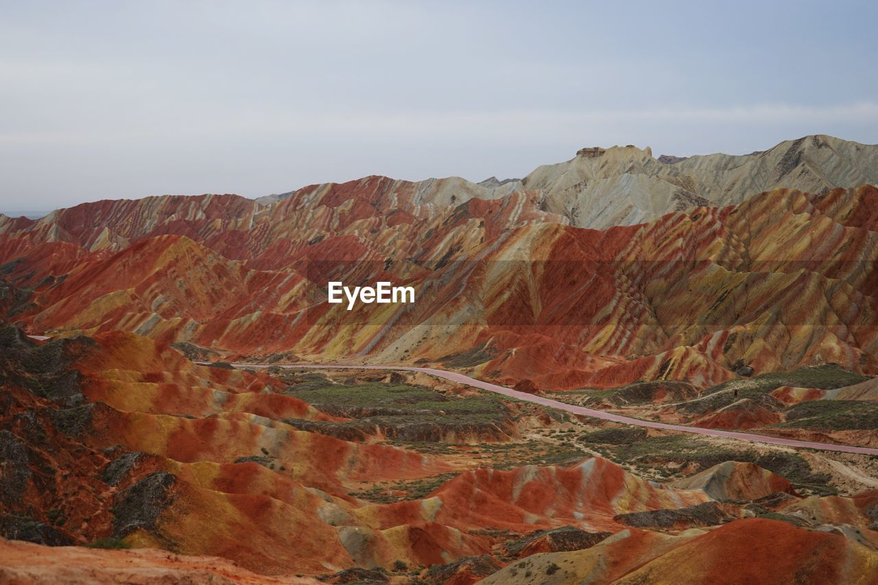Dramatic Landscape Against Sky At Zhangye Danxia National Geological Park