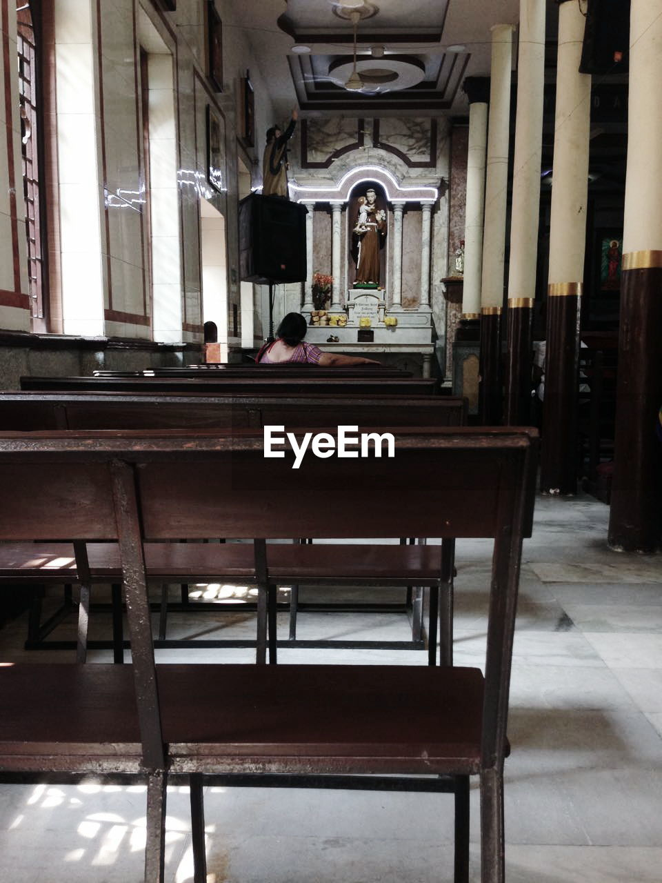 indoors, spirituality, pew, place of worship, architecture, chair, real people, religion, men, sitting, day, one person, people