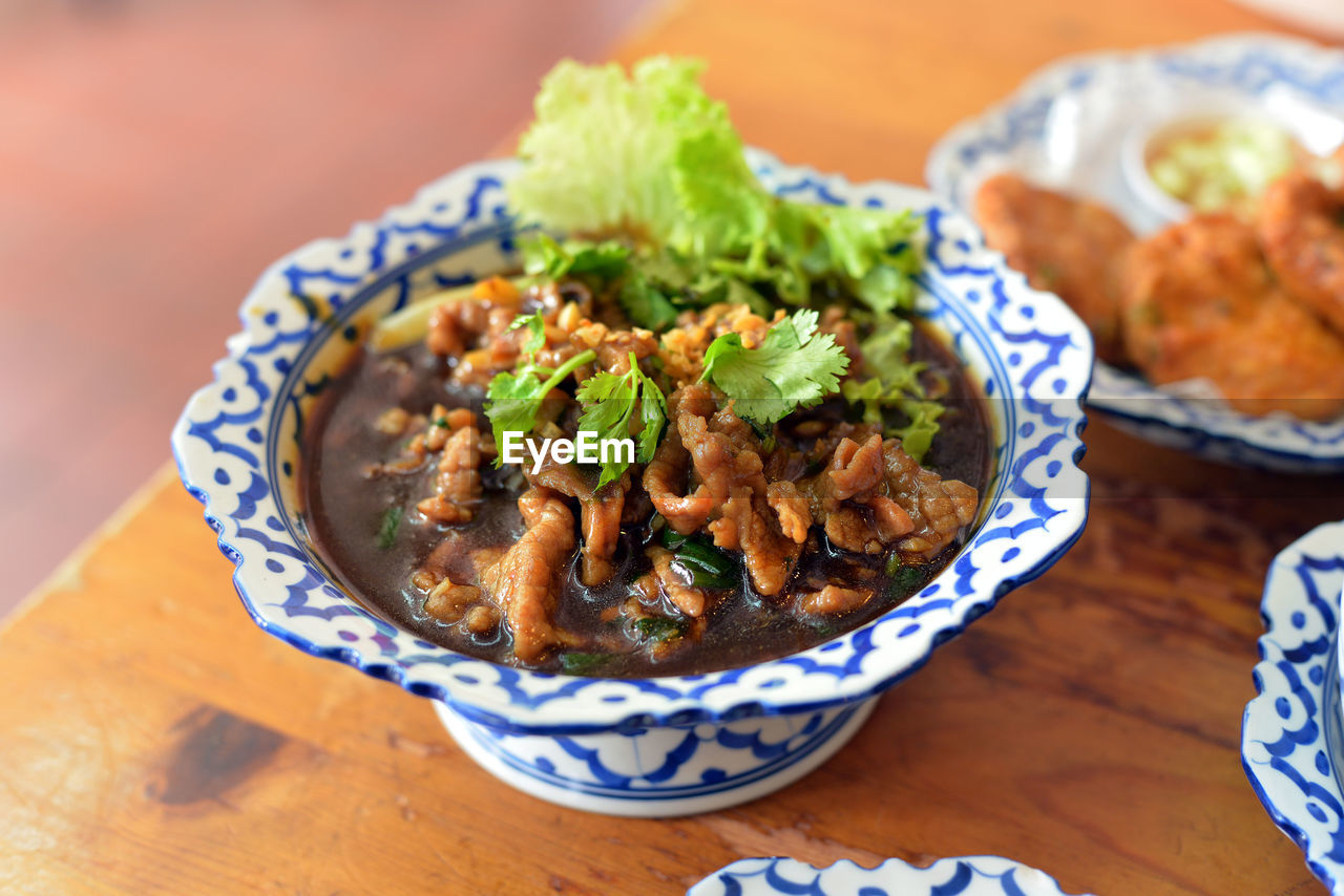 High Angle View Of Thai Food In Bowl