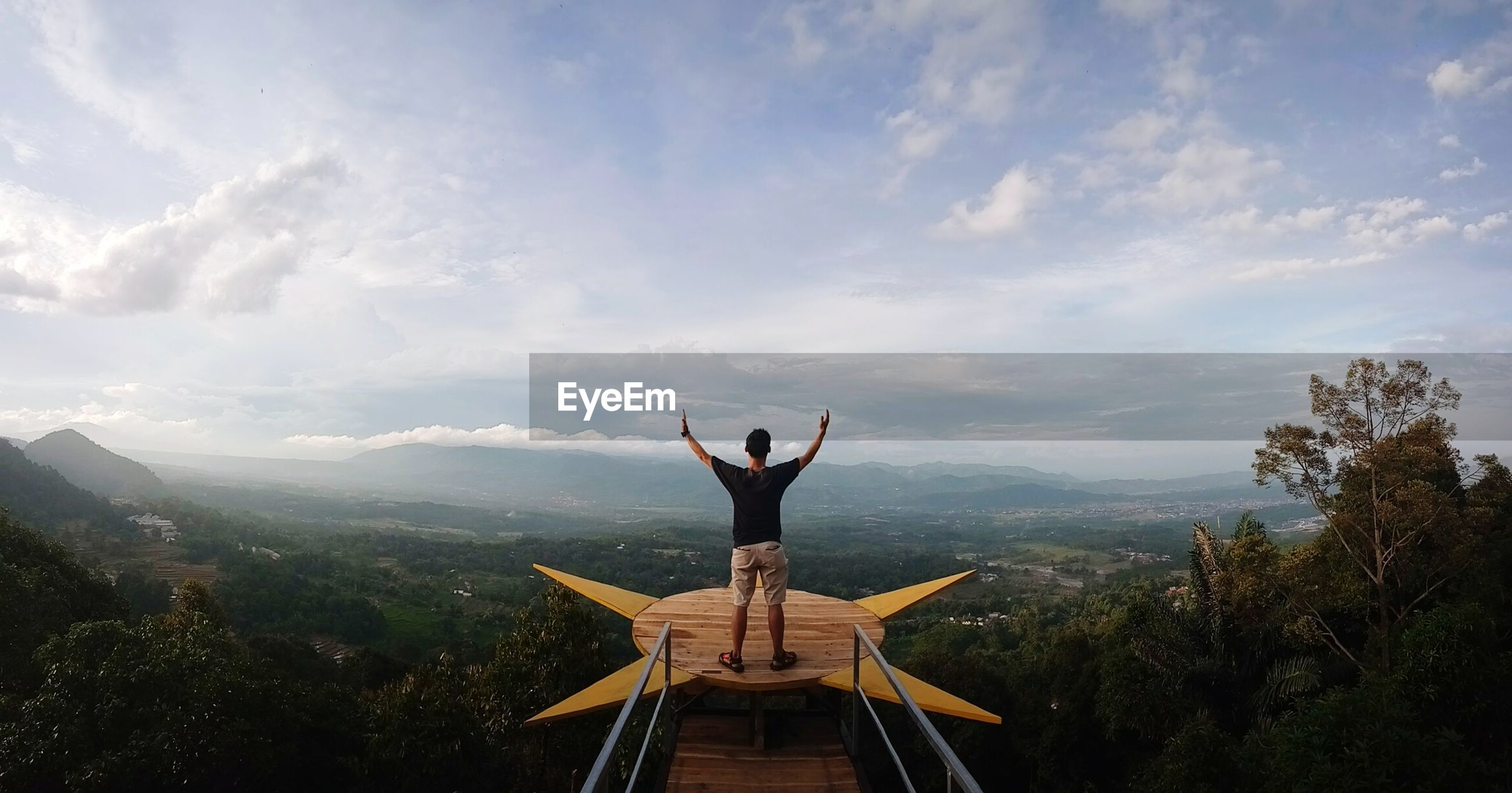 Rear view of man with arms raised standing at observation point against sky