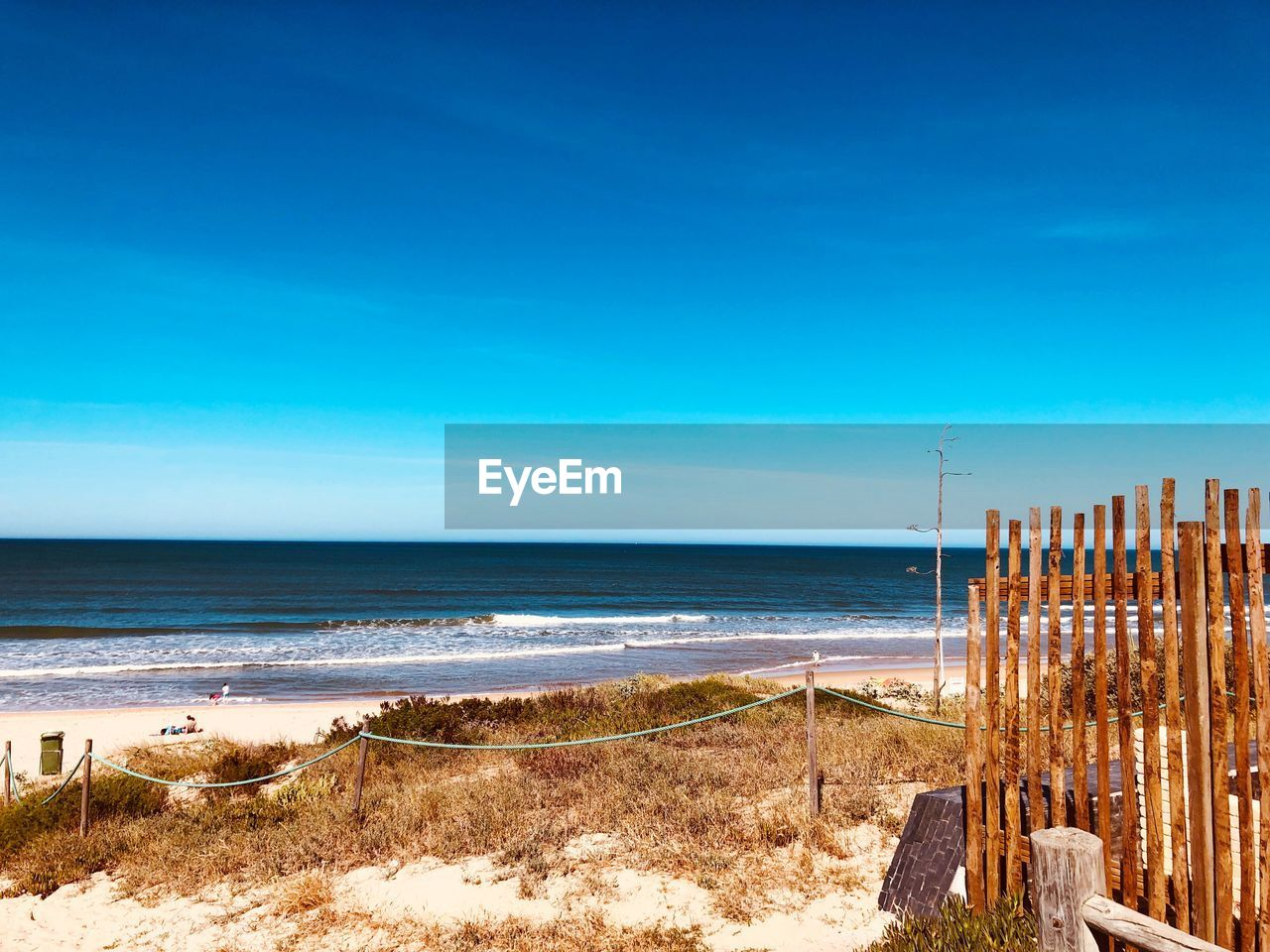 water, sea, sky, beach, land, horizon, horizon over water, scenics - nature, blue, tranquility, beauty in nature, tranquil scene, nature, sand, copy space, day, clear sky, no people, idyllic, outdoors, wooden post, post