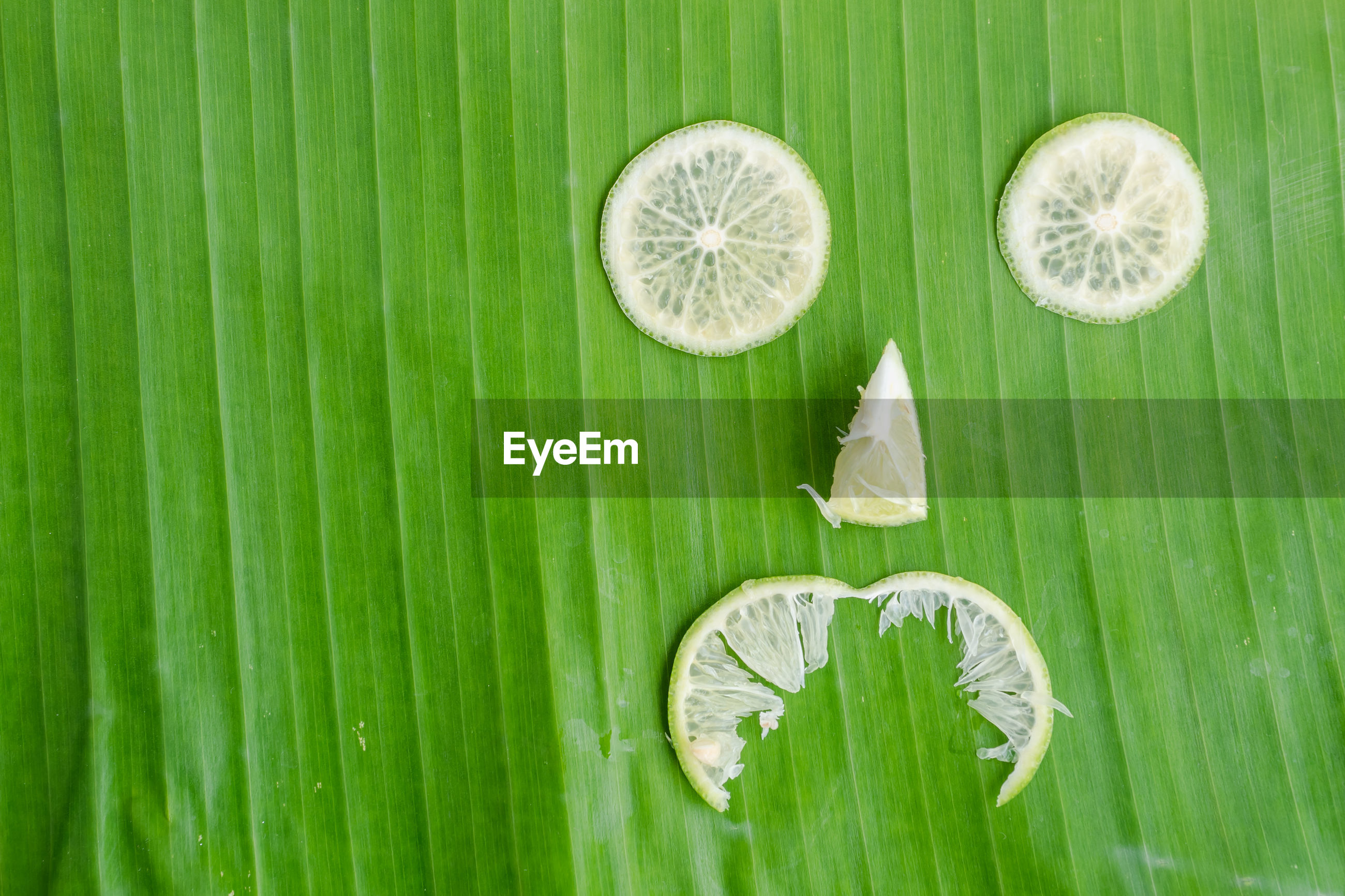 DIRECTLY ABOVE SHOT OF FRESH GREEN LEAVES WITH LEMON