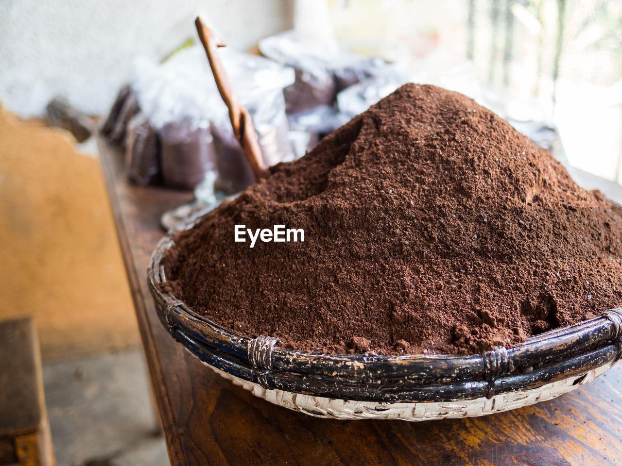 Close-Up Of Ground Coffee