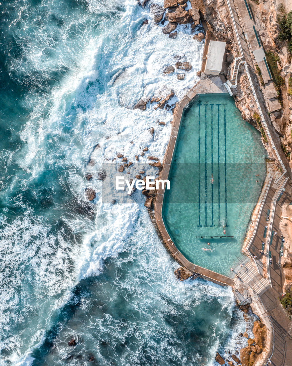 water, sea, motion, architecture, nature, day, nautical vessel, travel, travel destinations, beauty in nature, sport, outdoors, no people, tourism, aquatic sport, high angle view, wave, built structure, scenics - nature, swimming pool, turquoise colored