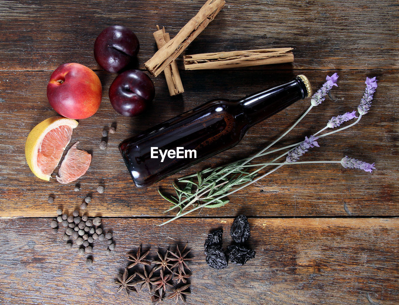 food and drink, food, wood - material, indoors, still life, fruit, healthy eating, wellbeing, table, high angle view, no people, freshness, directly above, choice, variation, studio shot, herb, ingredient, spice