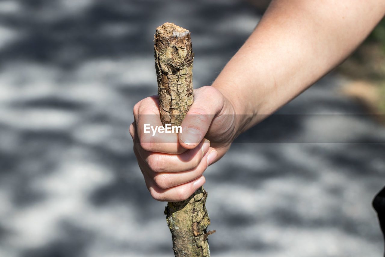 Close-up of hand holding stick
