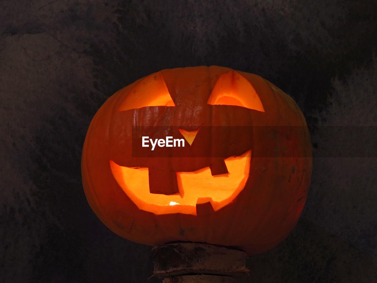 Close-Up Of Illuminated Jack O Lantern