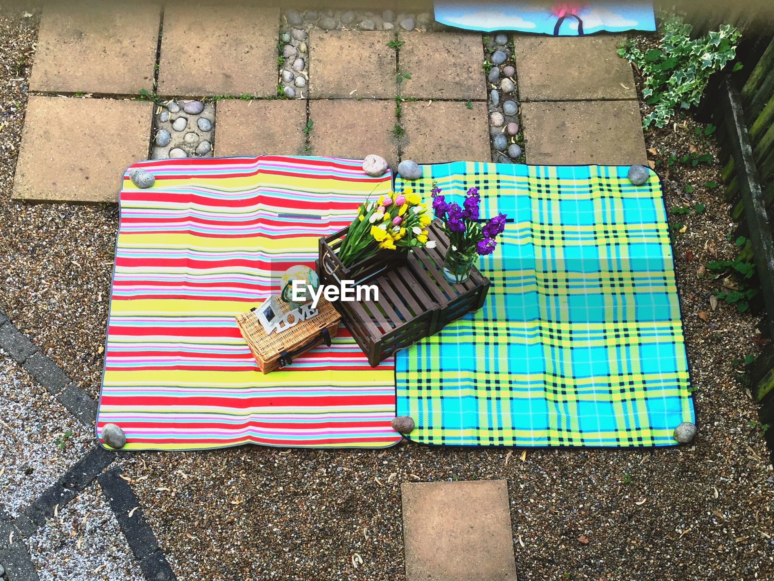 High angle view of flower arrangement on picnic blanket